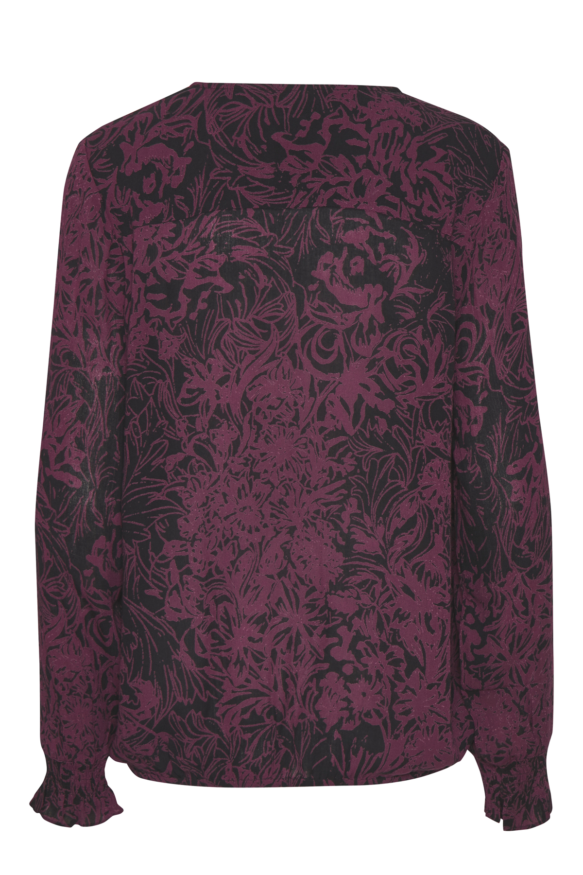 Mørk lilla/sort Langærmet bluse fra Kaffe – Køb Mørk lilla/sort Langærmet bluse fra str. 34-46 her