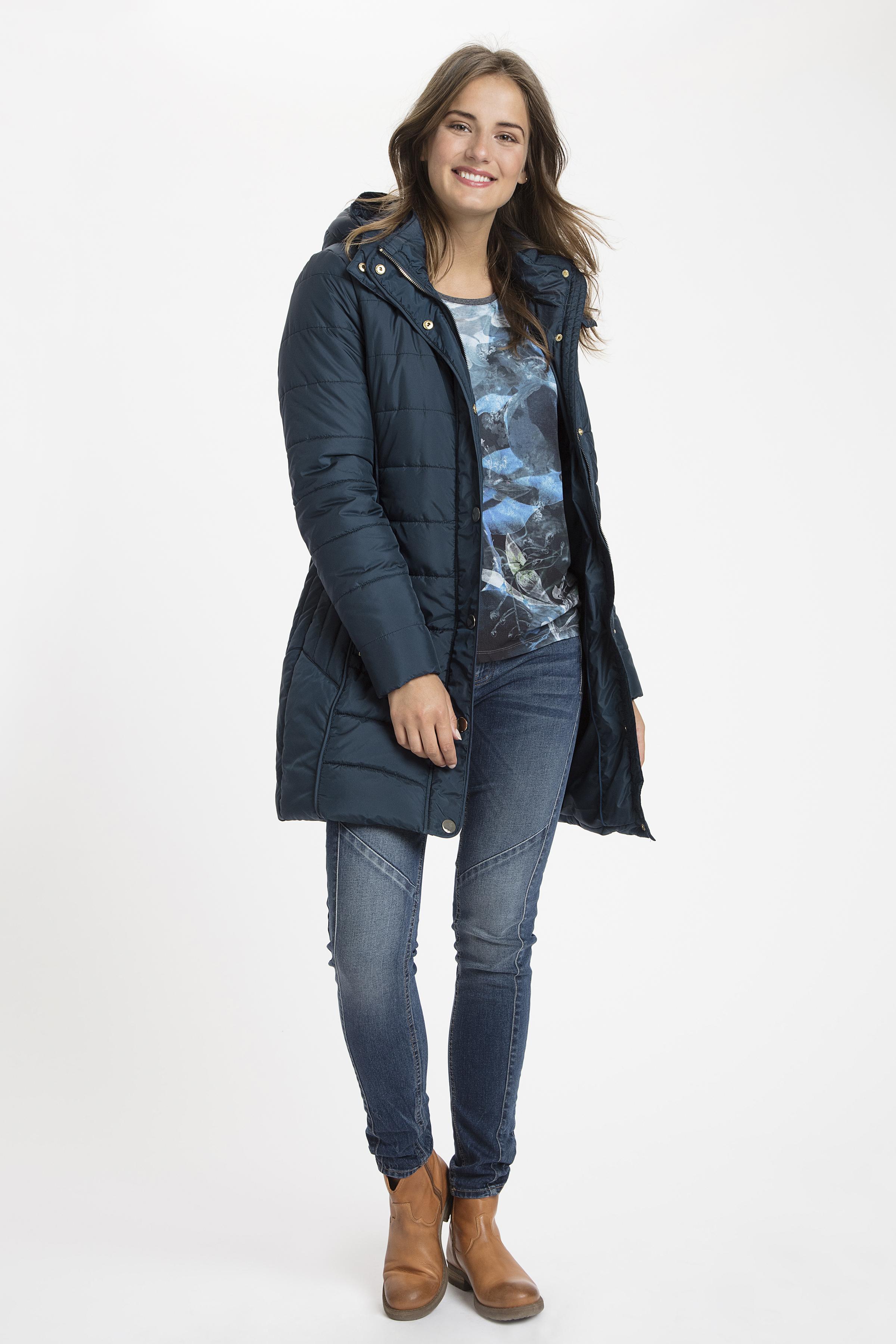 Mørk marineblå Frakke fra Fransa – Køb Mørk marineblå Frakke fra str. XS-XXL her