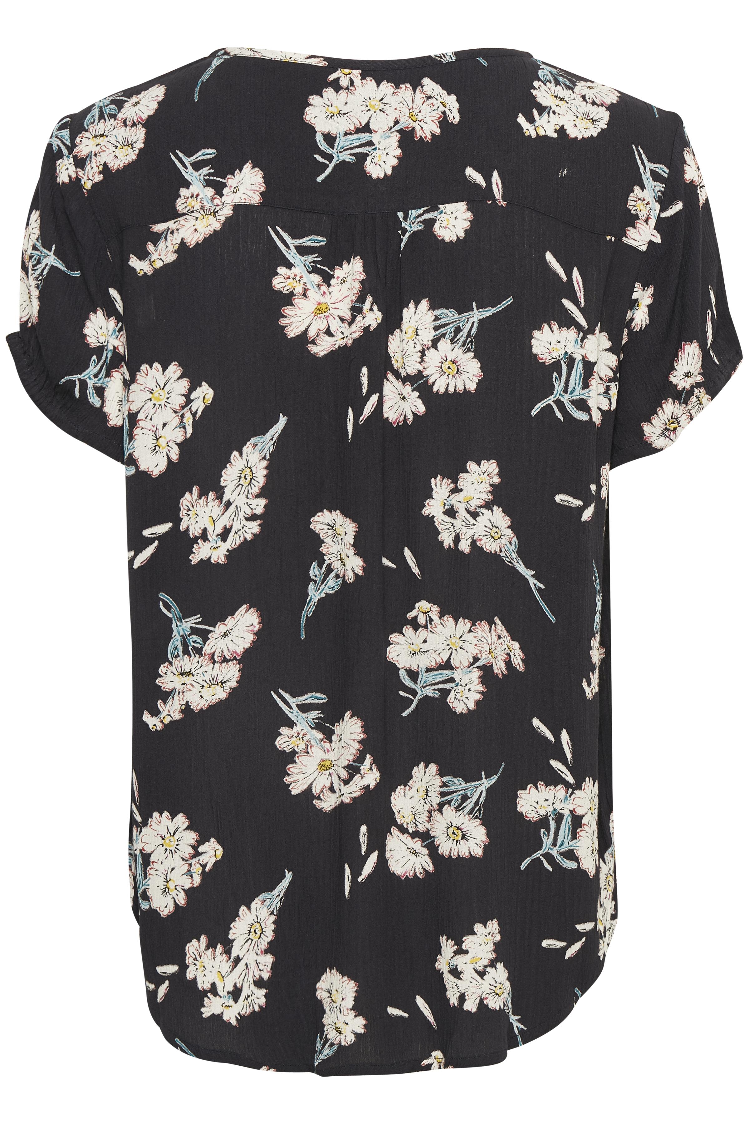 Mørk marineblå/rosa Kortærmet bluse  fra Bon'A Parte – Køb Mørk marineblå/rosa Kortærmet bluse  fra str. S-2XL her