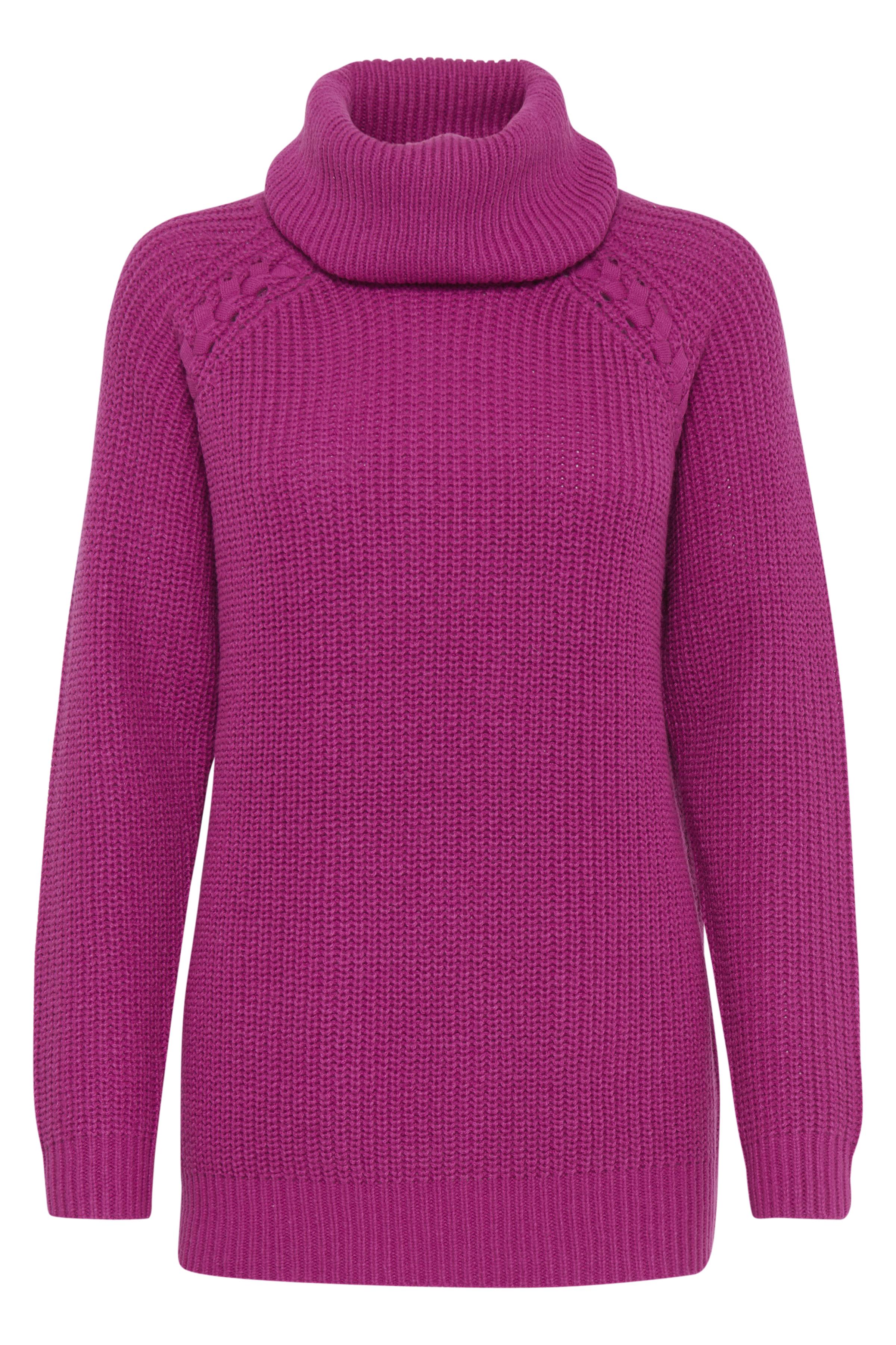 Mørk pink Strikpullover fra b.young – Køb Mørk pink Strikpullover fra str. XS-XXL her