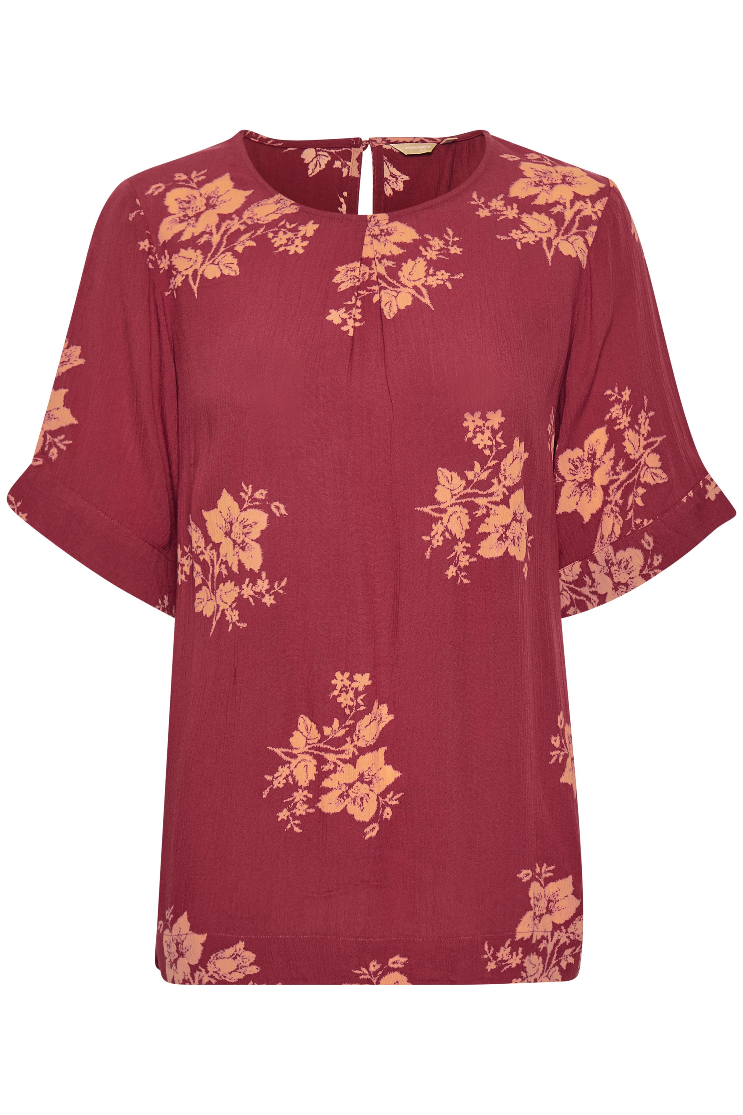 Image of BonA Parte Dame BONA PARTE bluse med rund hals. 3/4-ærmer. Slids i nakke med knap. Blusen - Mørk rosa/orange
