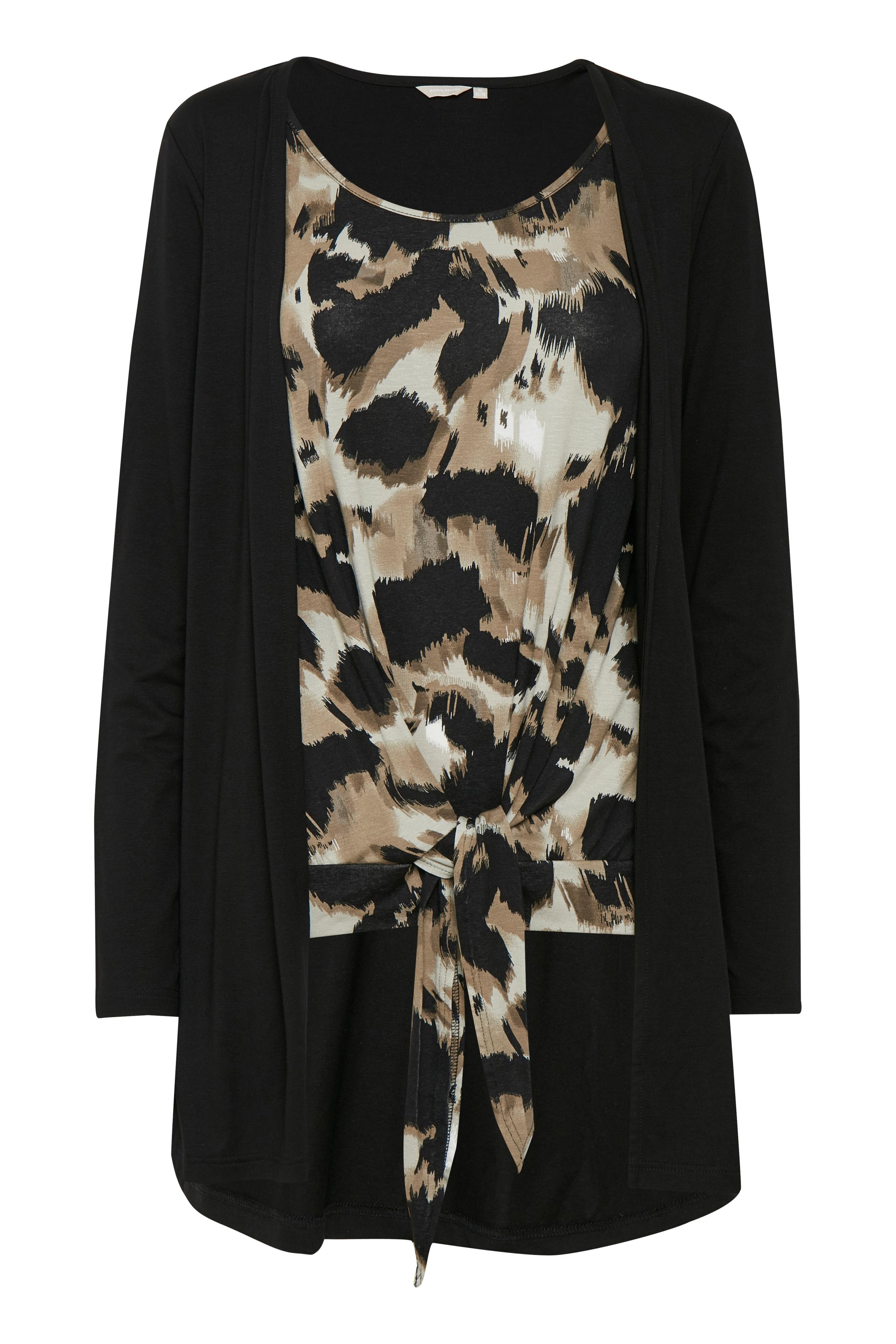 Mørk sand/sort Langærmet bluse fra Bon'A Parte – Køb Mørk sand/sort Langærmet bluse fra str. S-2XL her
