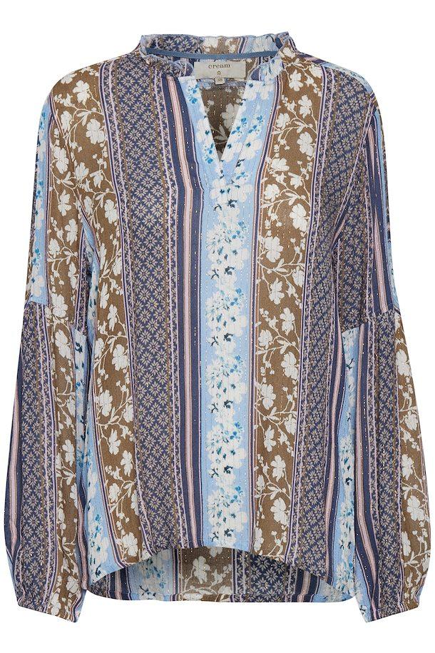 3878961f Mørkeblå/mørk sand Langærmet bluse fra Cream – Køb Mørkeblå/mørk sand  Langærmet bluse fra str.