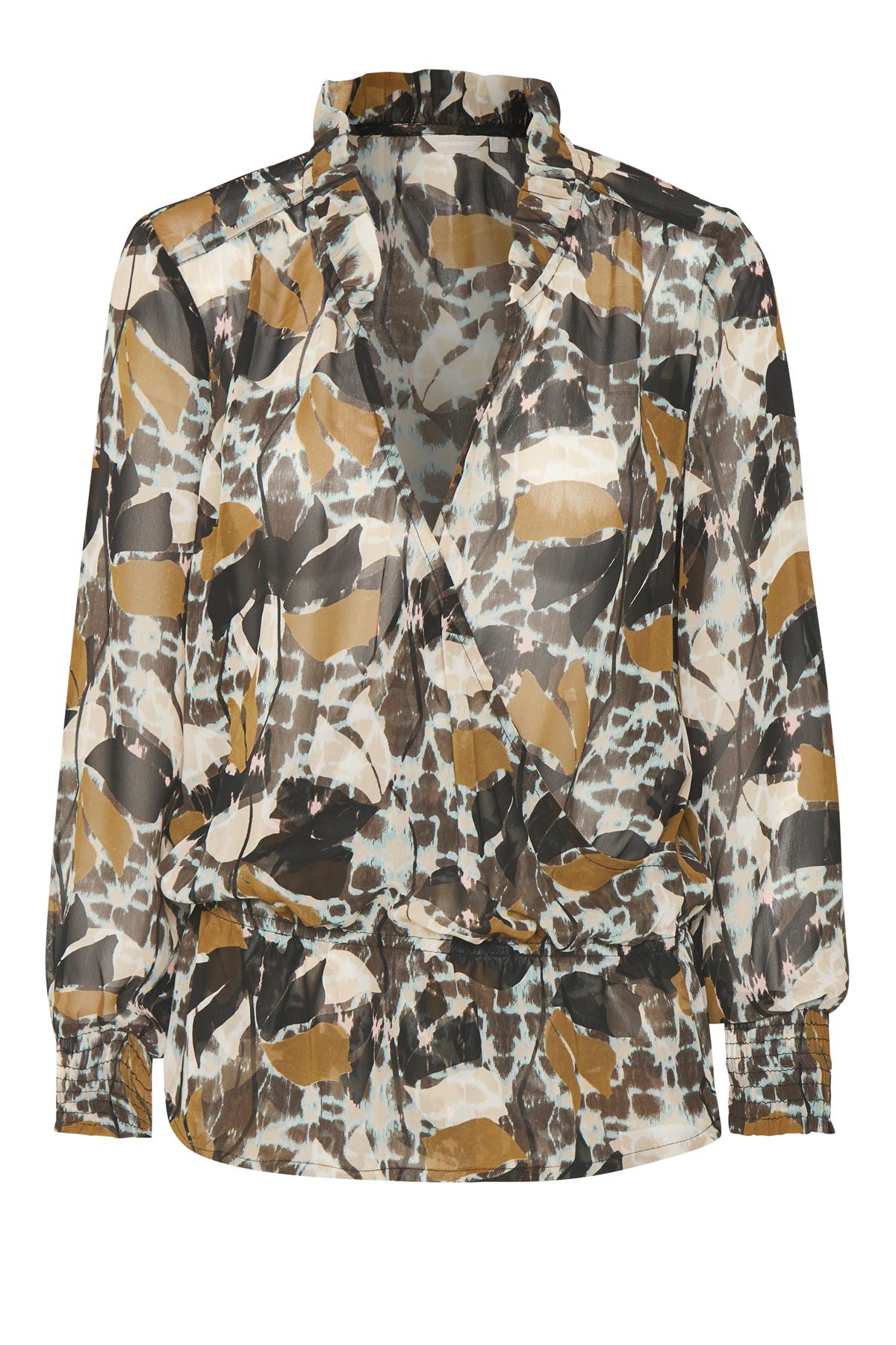 Mørkebrun/turkis Langærmet bluse fra Bon'A Parte – Køb Mørkebrun/turkis Langærmet bluse fra str. S-2XL her