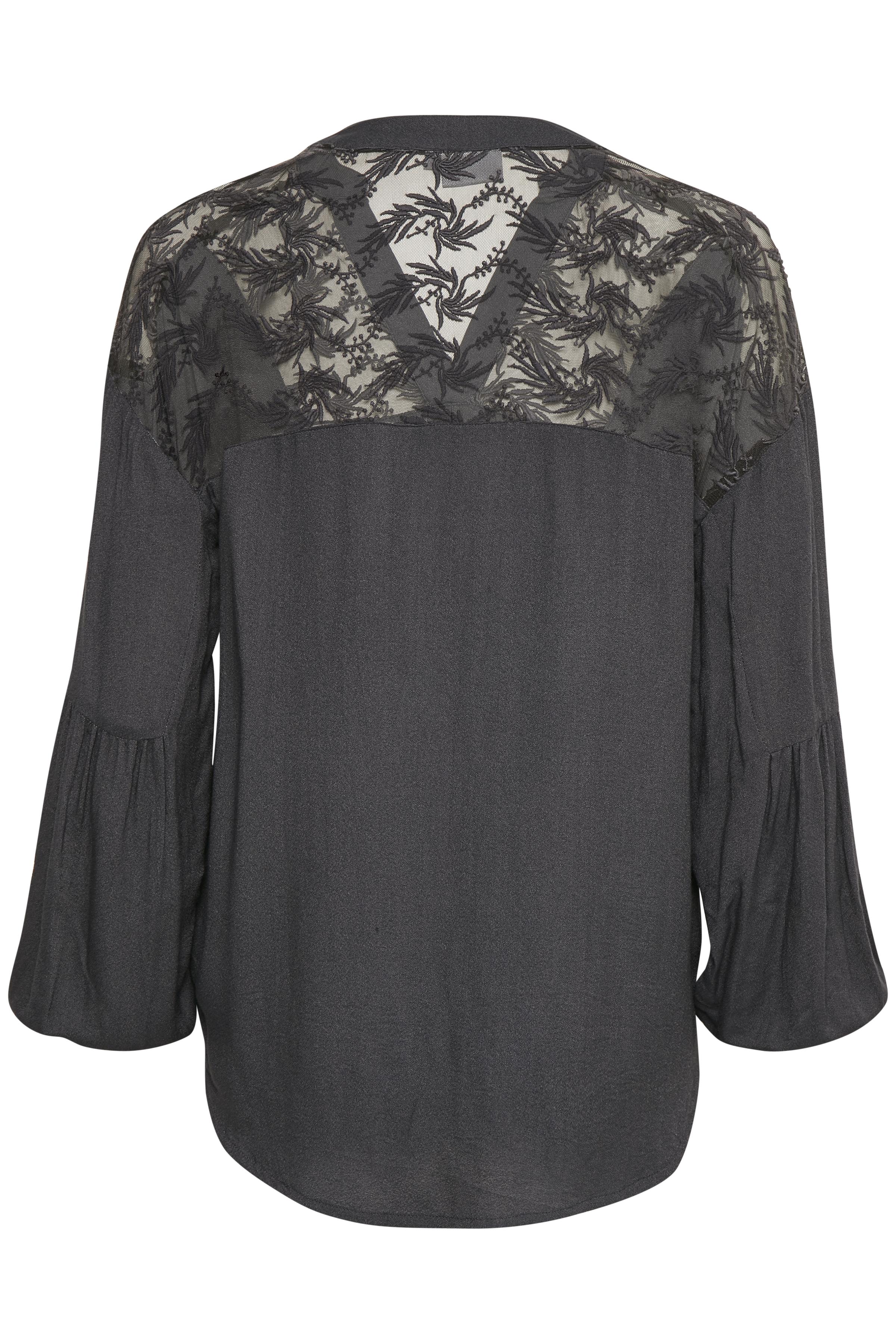Mørkegrå Langærmet bluse fra b.young – Køb Mørkegrå Langærmet bluse fra str. 34-46 her