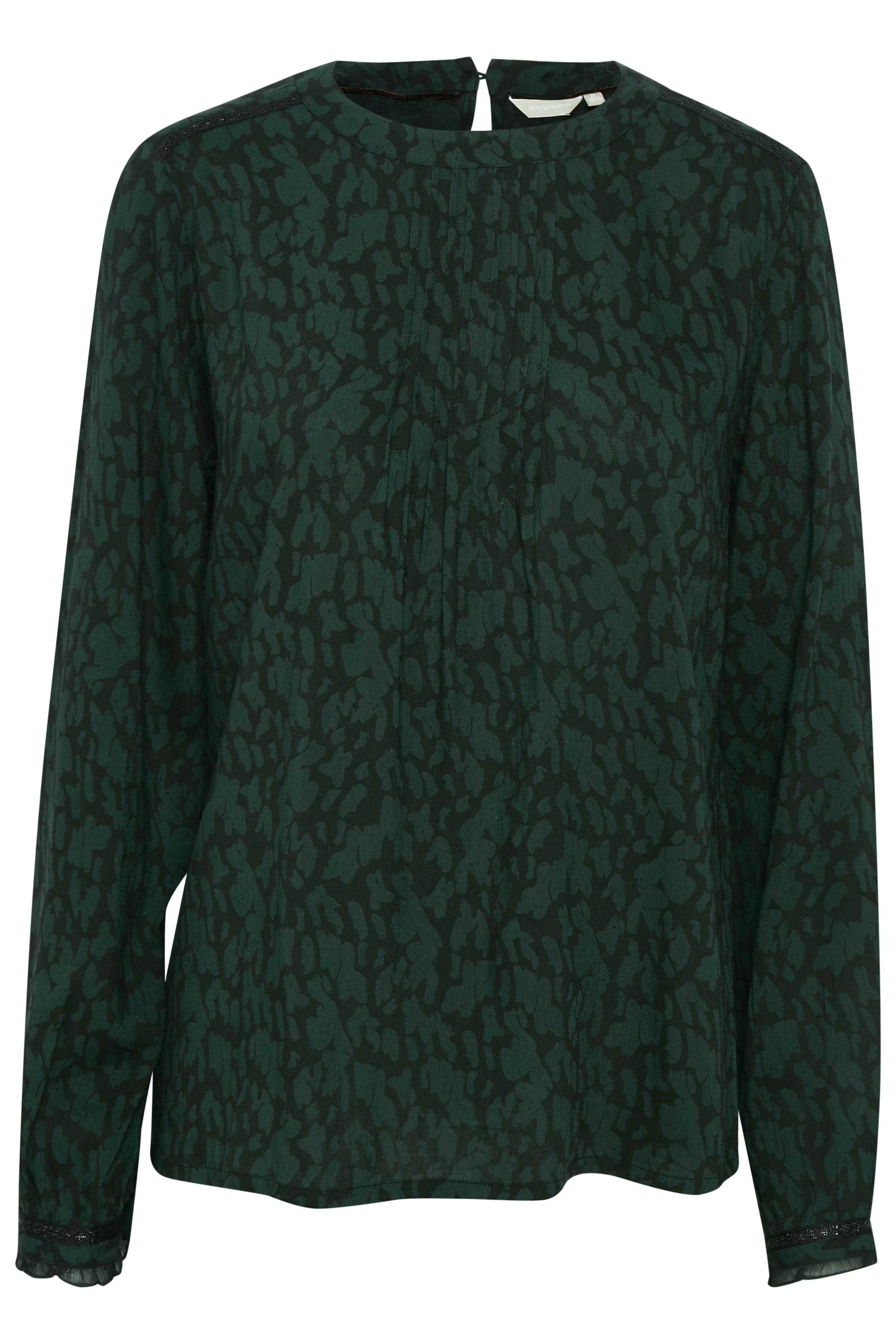 Mørkegrøn/sort Langærmet bluse fra Bon'A Parte – Køb Mørkegrøn/sort Langærmet bluse fra str. S-2XL her