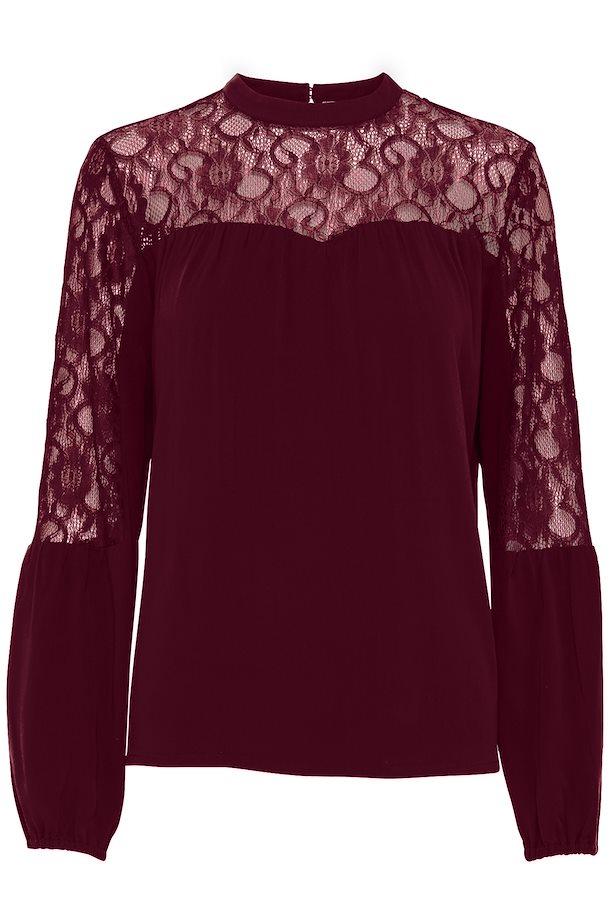 70c11a52c74 Mørkerød Langærmet bluse fra b.young – Køb Mørkerød Langærmet bluse fra  str. 34-46 her