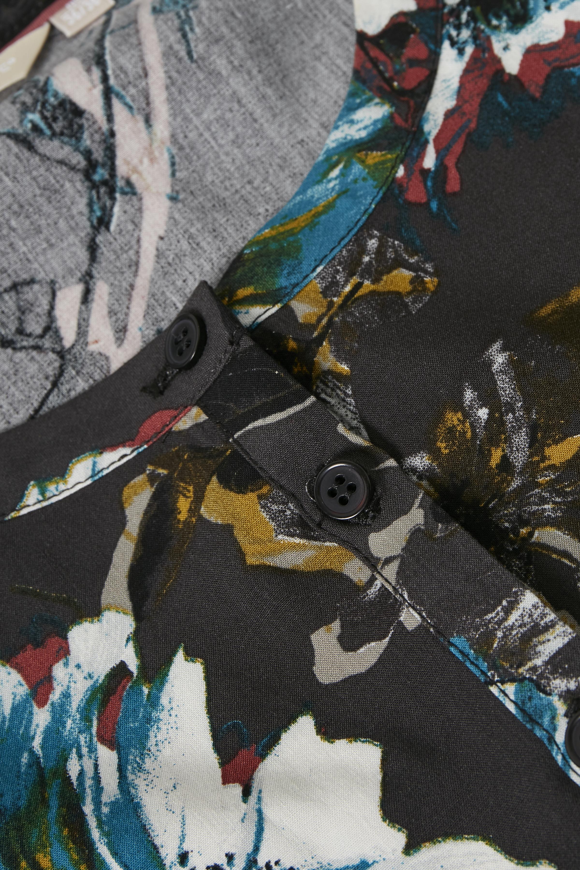 Mörk antracitgrå/blå Klänning från Bon'A Parte – Köp Mörk antracitgrå/blå Klänning från stl. S-2XL här