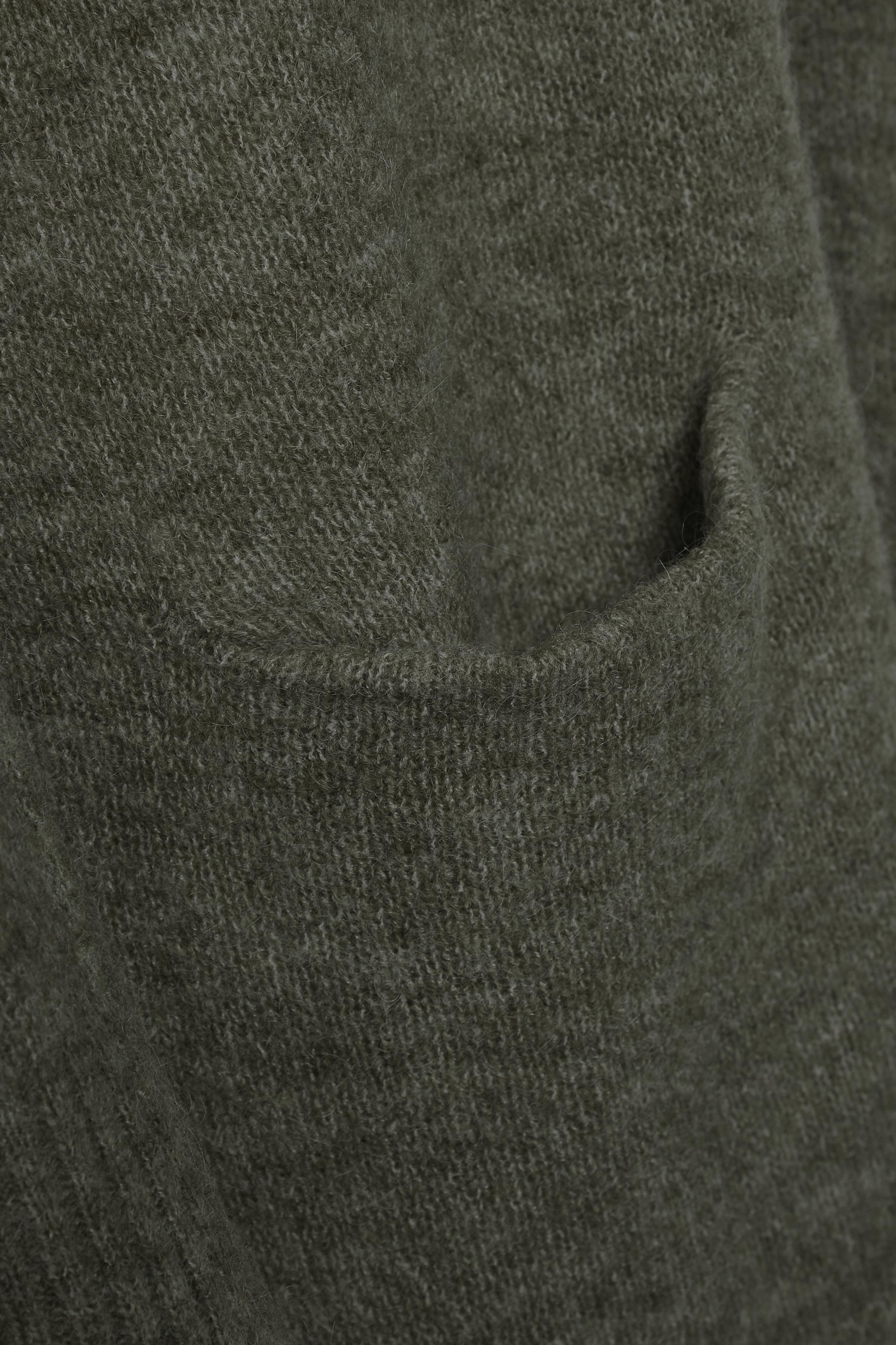 Mörk grönmelerad Stickad cardigan från Bon'A Parte – Köp Mörk grönmelerad Stickad cardigan från stl. S-2XL här