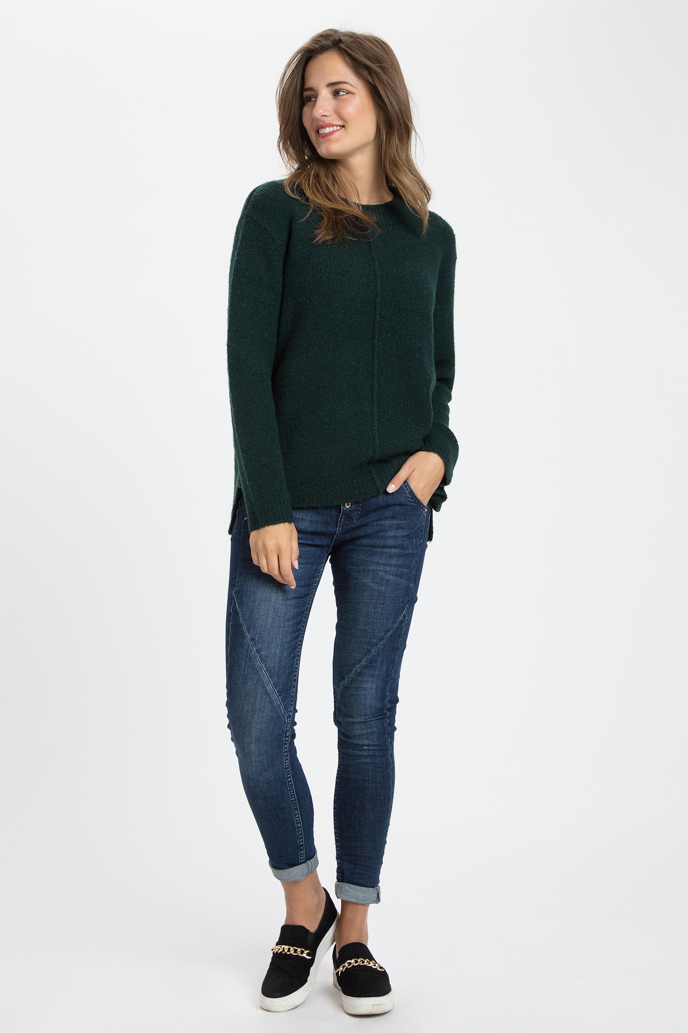 Mörk grönmelerad Stickad pullover från b.young – Köp Mörk grönmelerad Stickad pullover från stl. XS-XXL här
