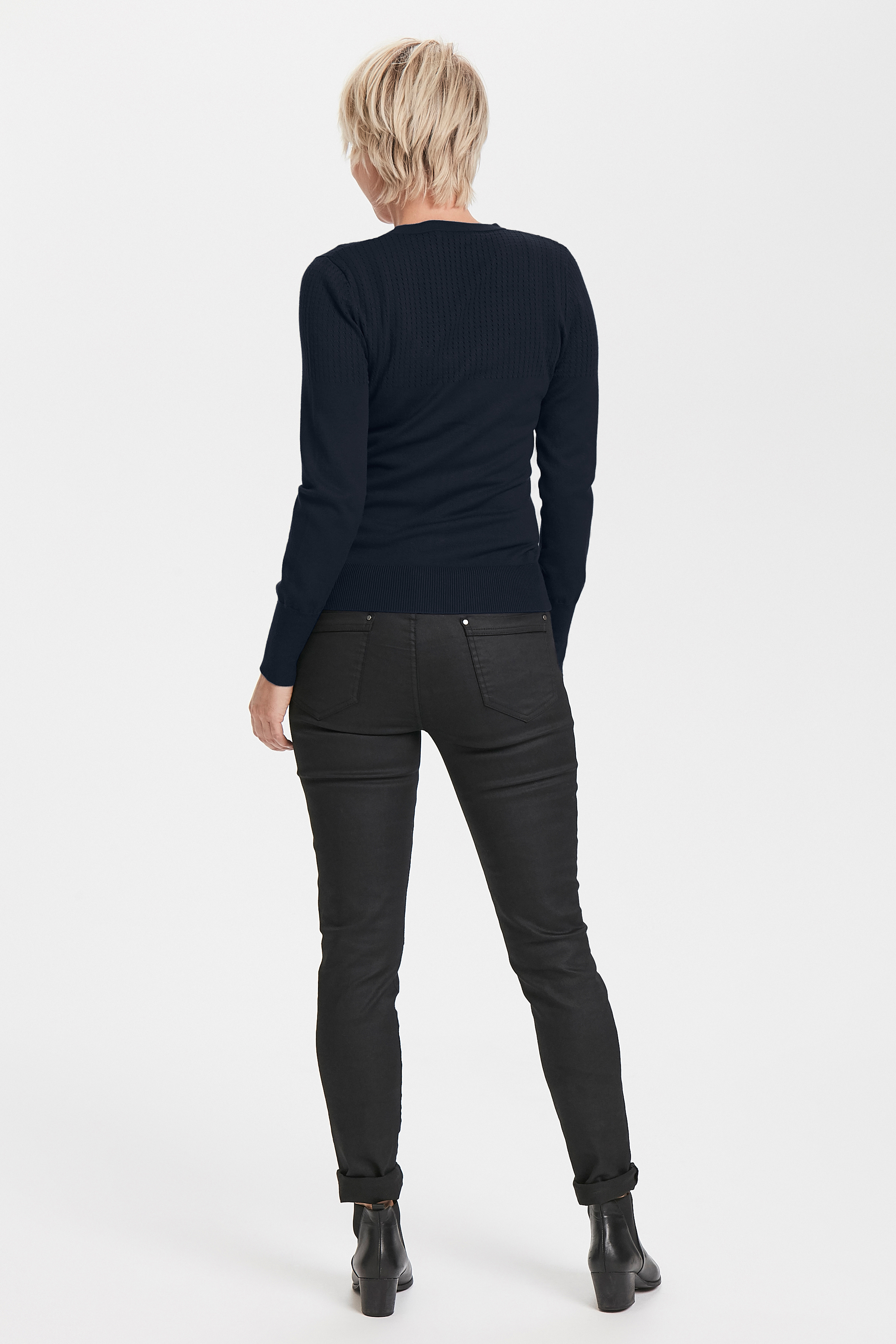 Mörk marinblå Stickad cardigan från Bon'A Parte – Köp Mörk marinblå Stickad cardigan från stl. S-2XL här