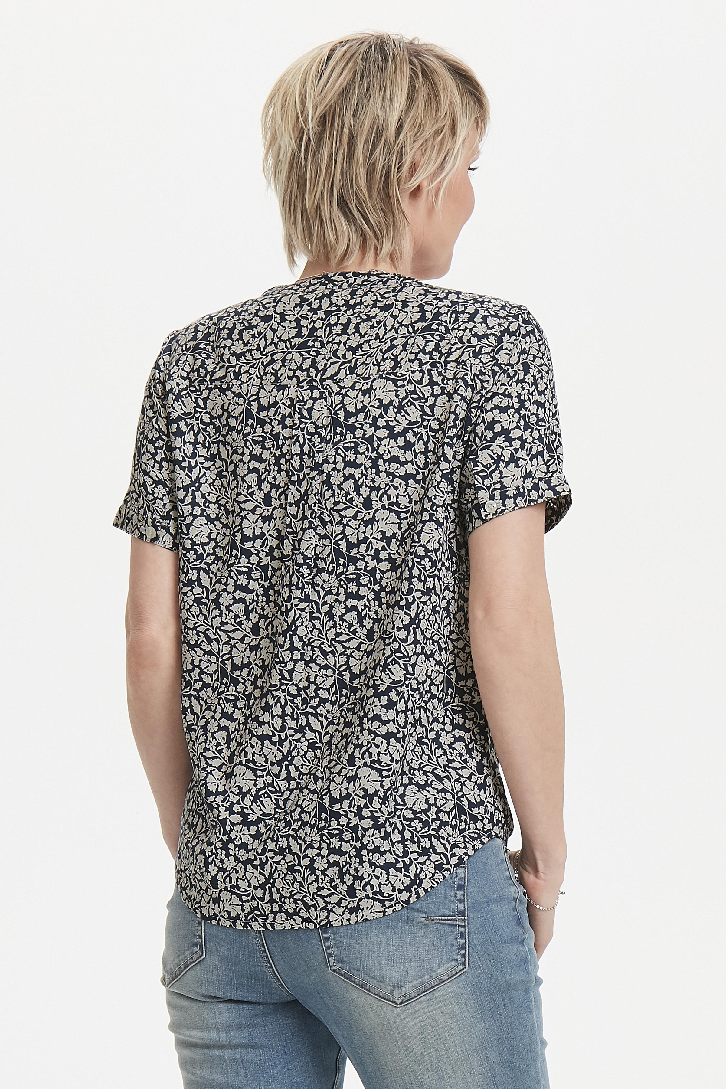 Mörkblå/crème Kortärmad skjorta från Bon'A Parte – Köp Mörkblå/crème Kortärmad skjorta från stl. S-2XL här