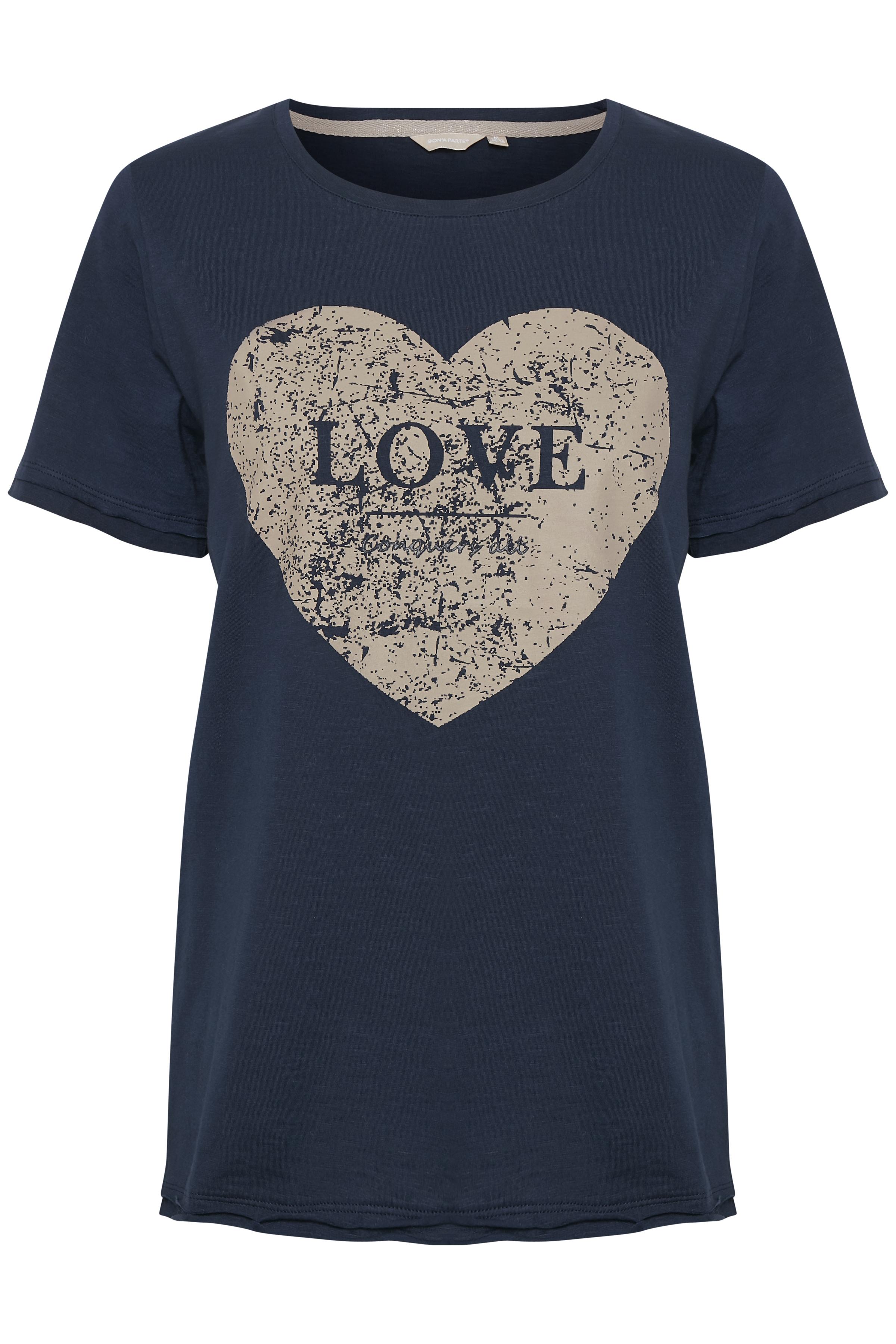 Mörkblå Kortärmad T-shirt från Bon'A Parte – Köp Mörkblå Kortärmad T-shirt från stl. S-2XL här