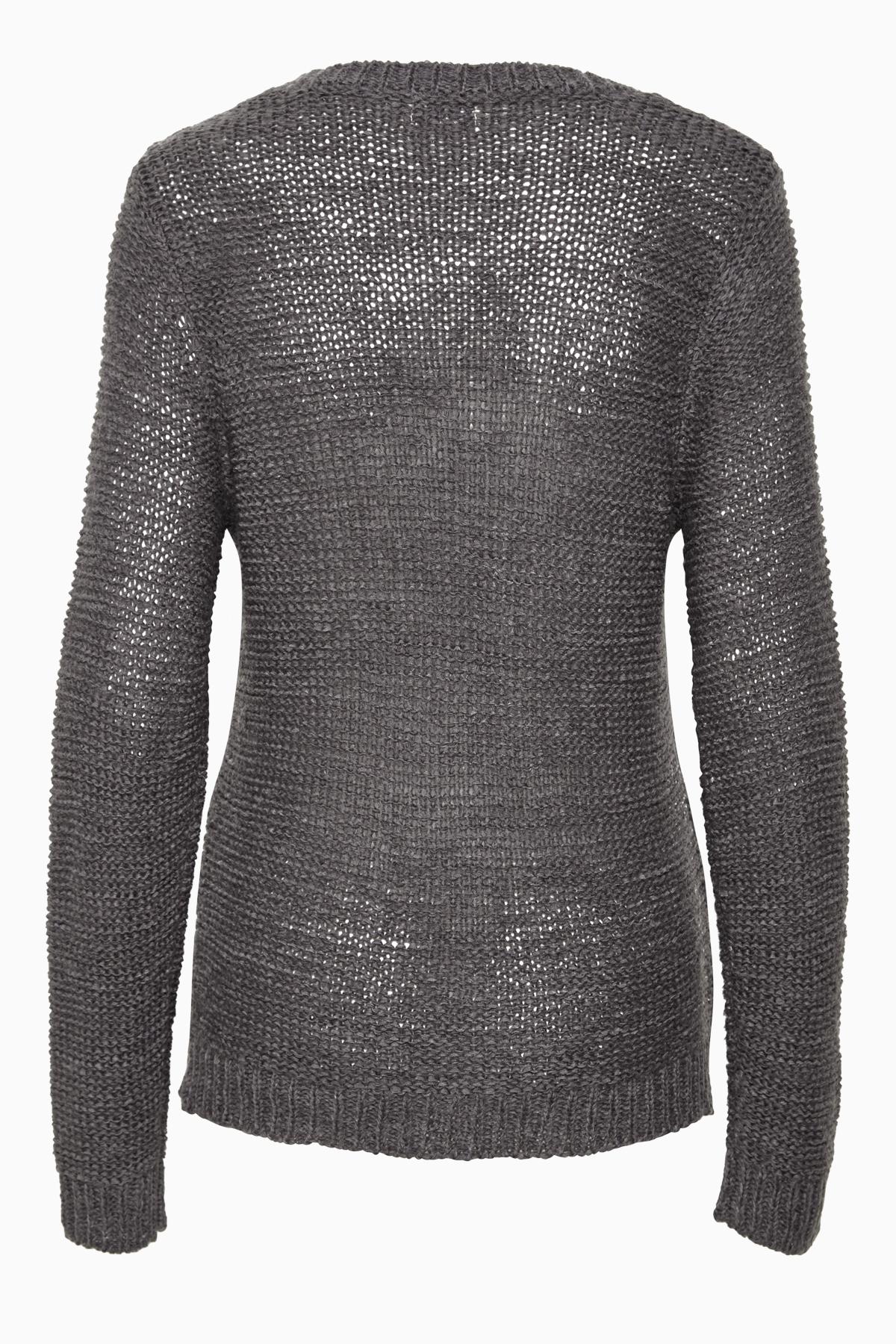 Mörkgrå Stickad pullover från Bon'A Parte – Köp Mörkgrå Stickad pullover från stl. S-3XL här