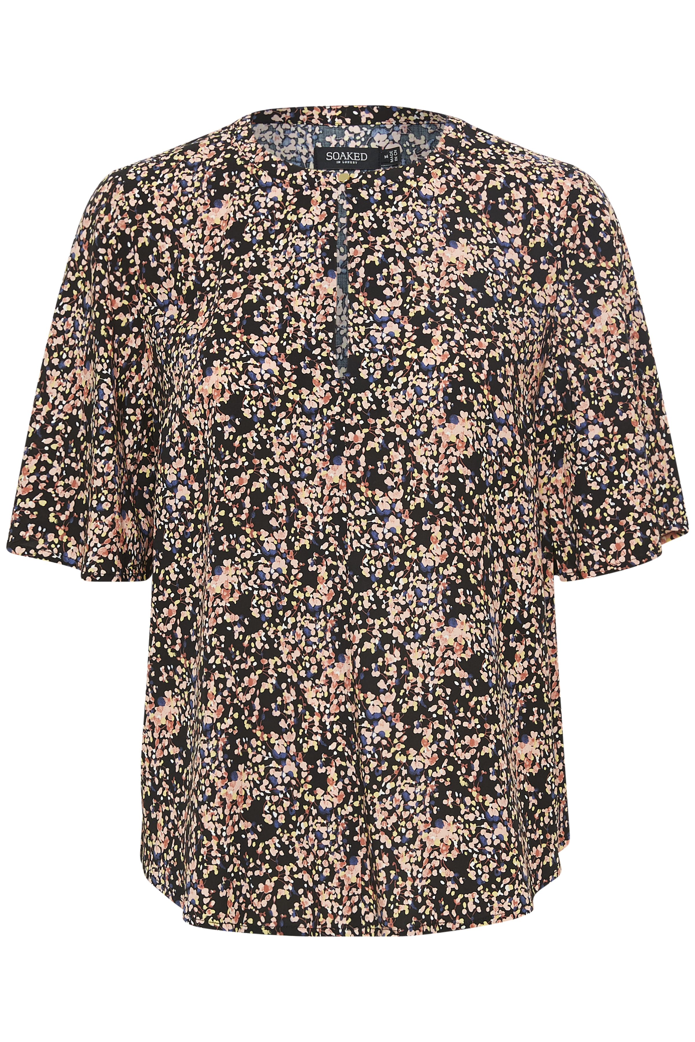 Soaked in Luxury Dame Kortærmet bluse - Night Sky Multi Print