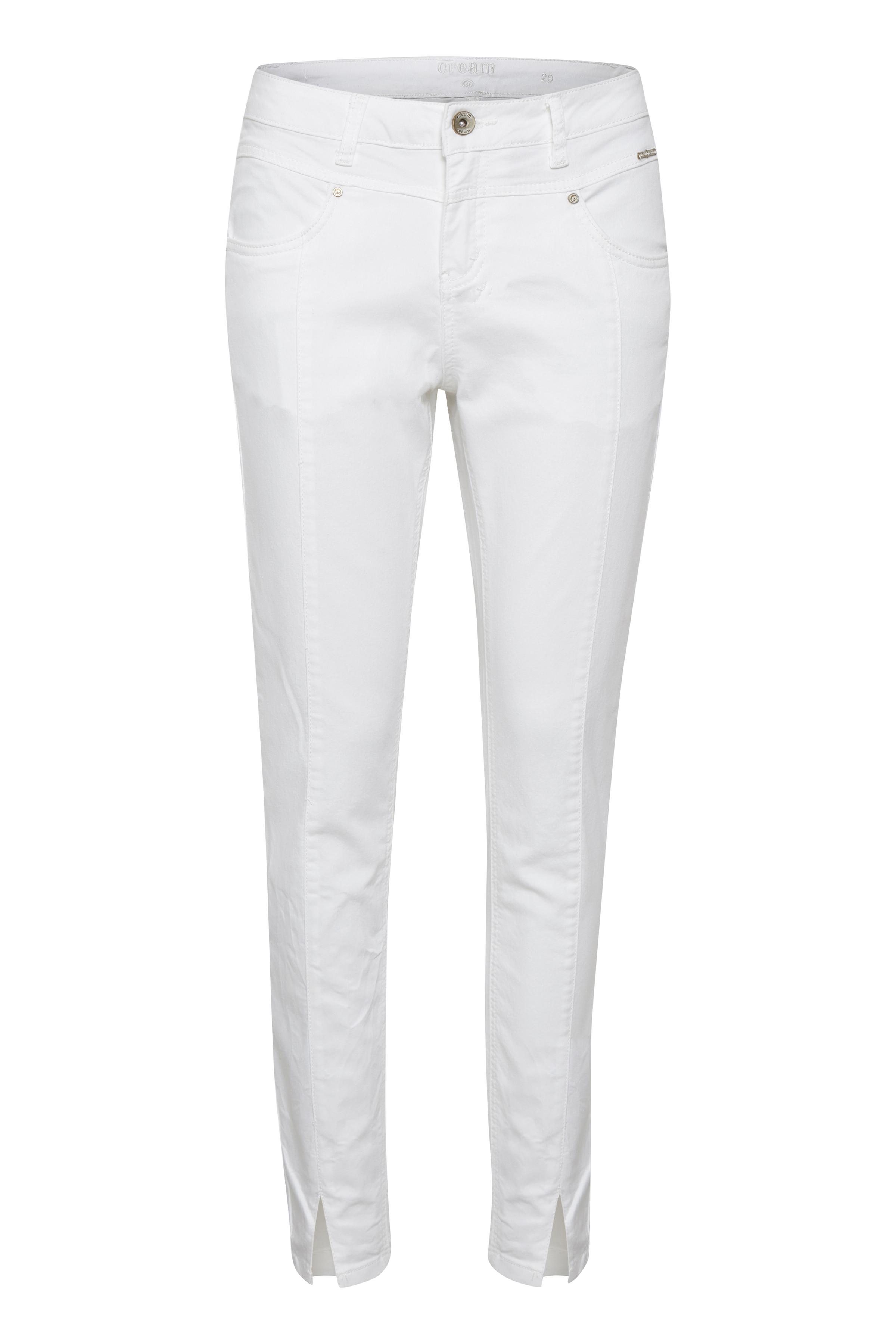 Cream Dame Twill ankelbukser  - Off-white