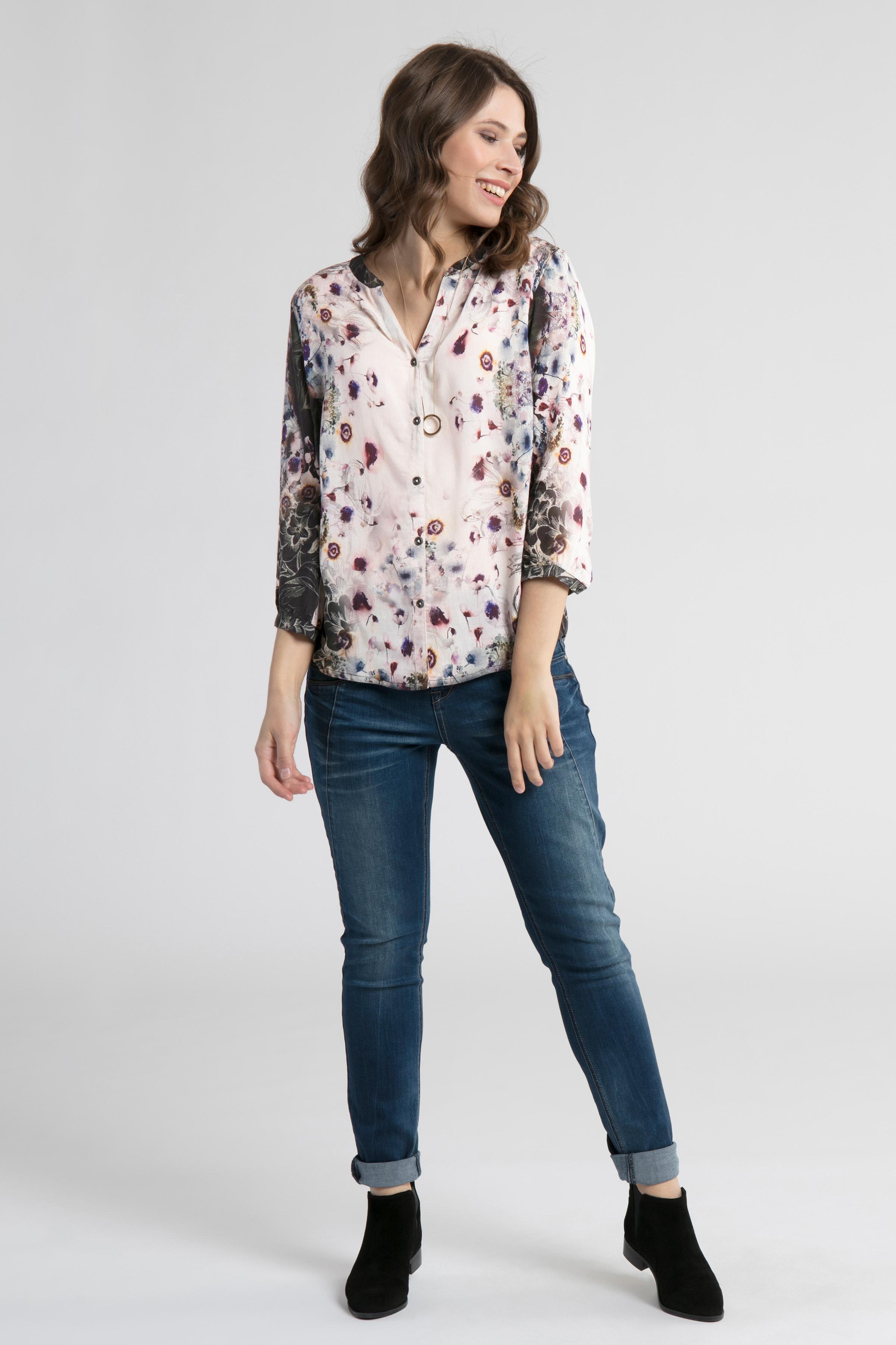 Off-white/aubergine Långärmad skjorta  från Cream – Köp Off-white/aubergine Långärmad skjorta  från stl. 34-46 här
