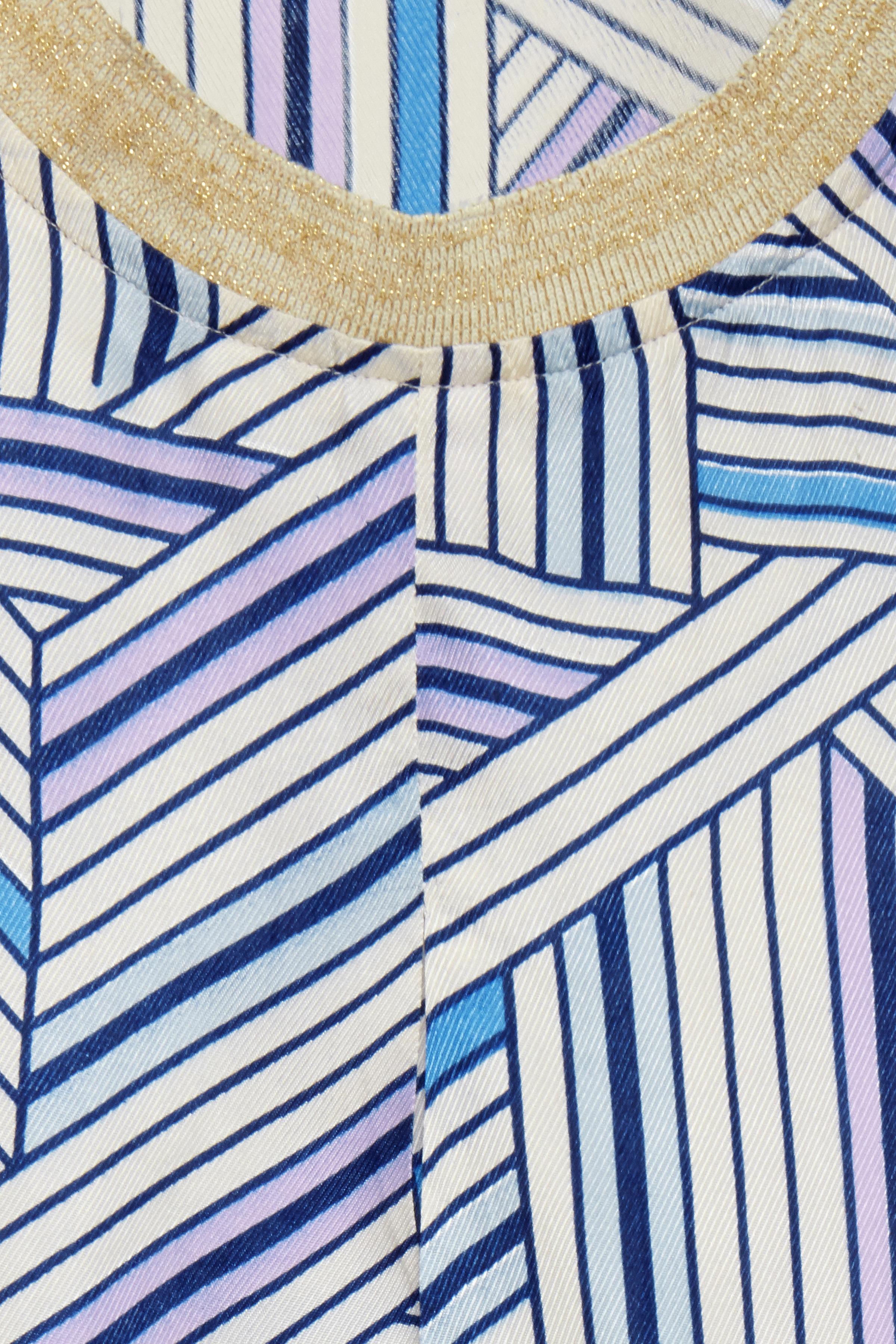 Off-white/blå Kortærmet bluse  fra Dranella – Køb Off-white/blå Kortærmet bluse  fra str. XS-XXL her