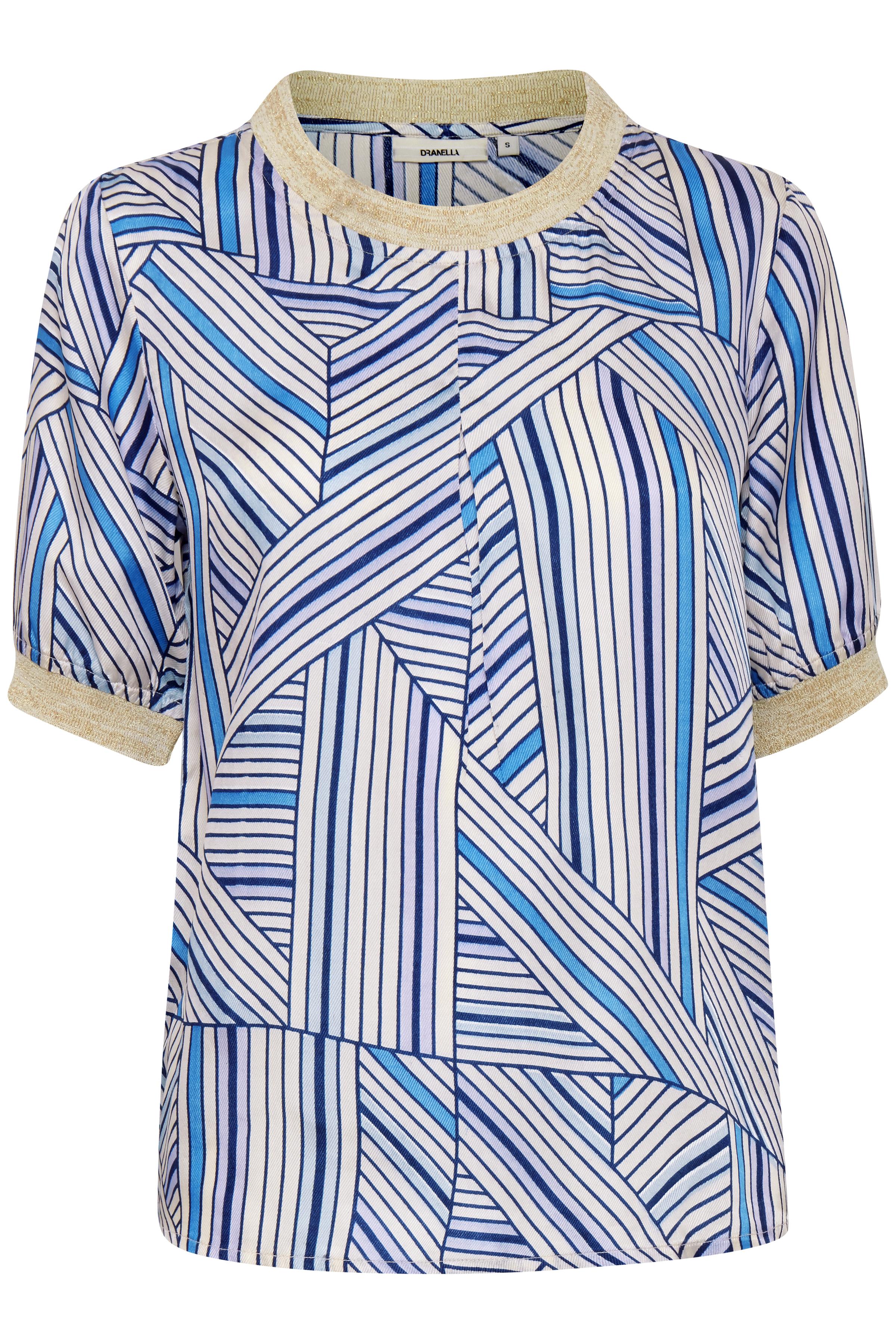 Image of Dranella Dame Bluse med korte ærmer - Off-white/blå