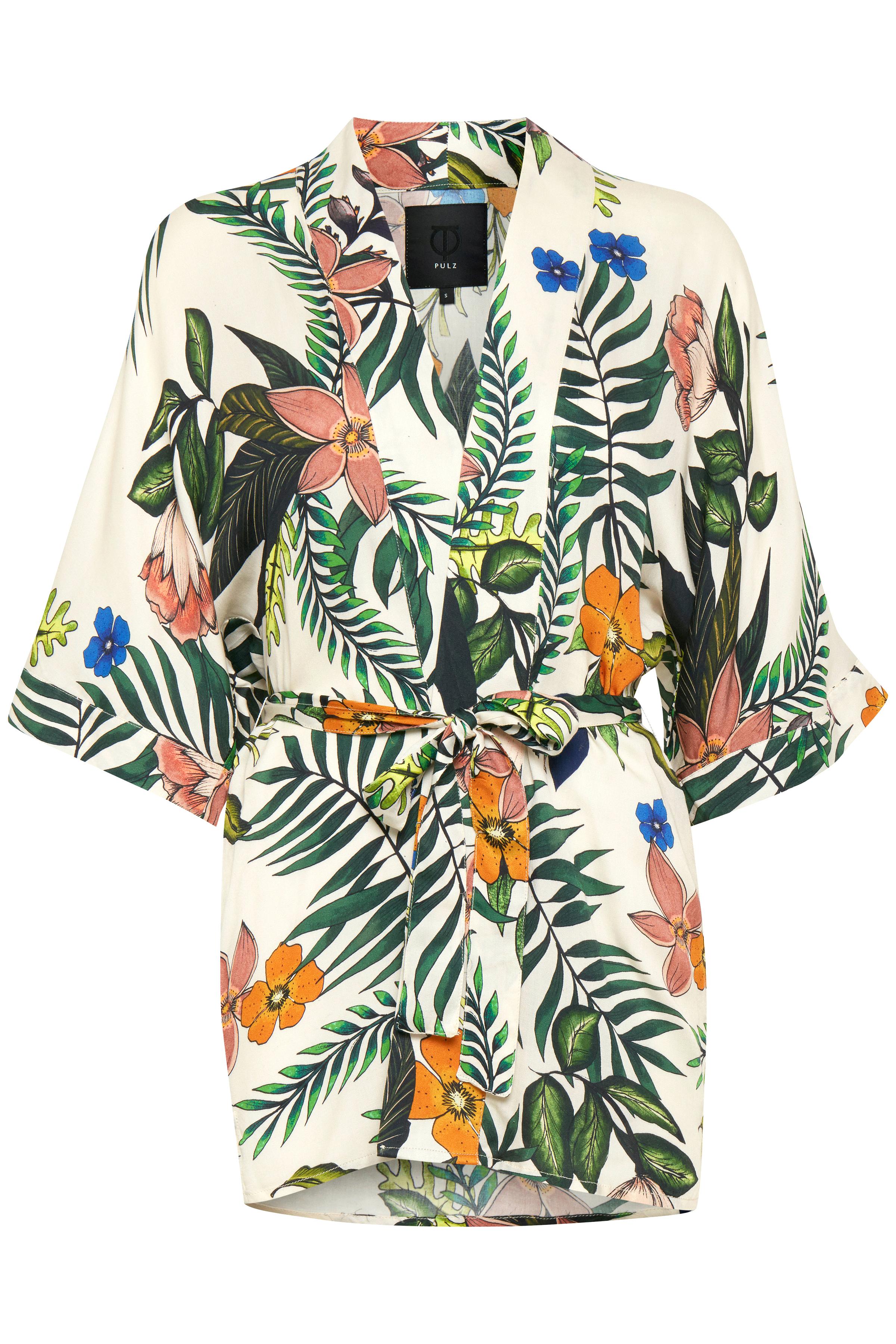 Image of Pulz Jeans Dame Super flot Madison kimono - Off-white/grøn