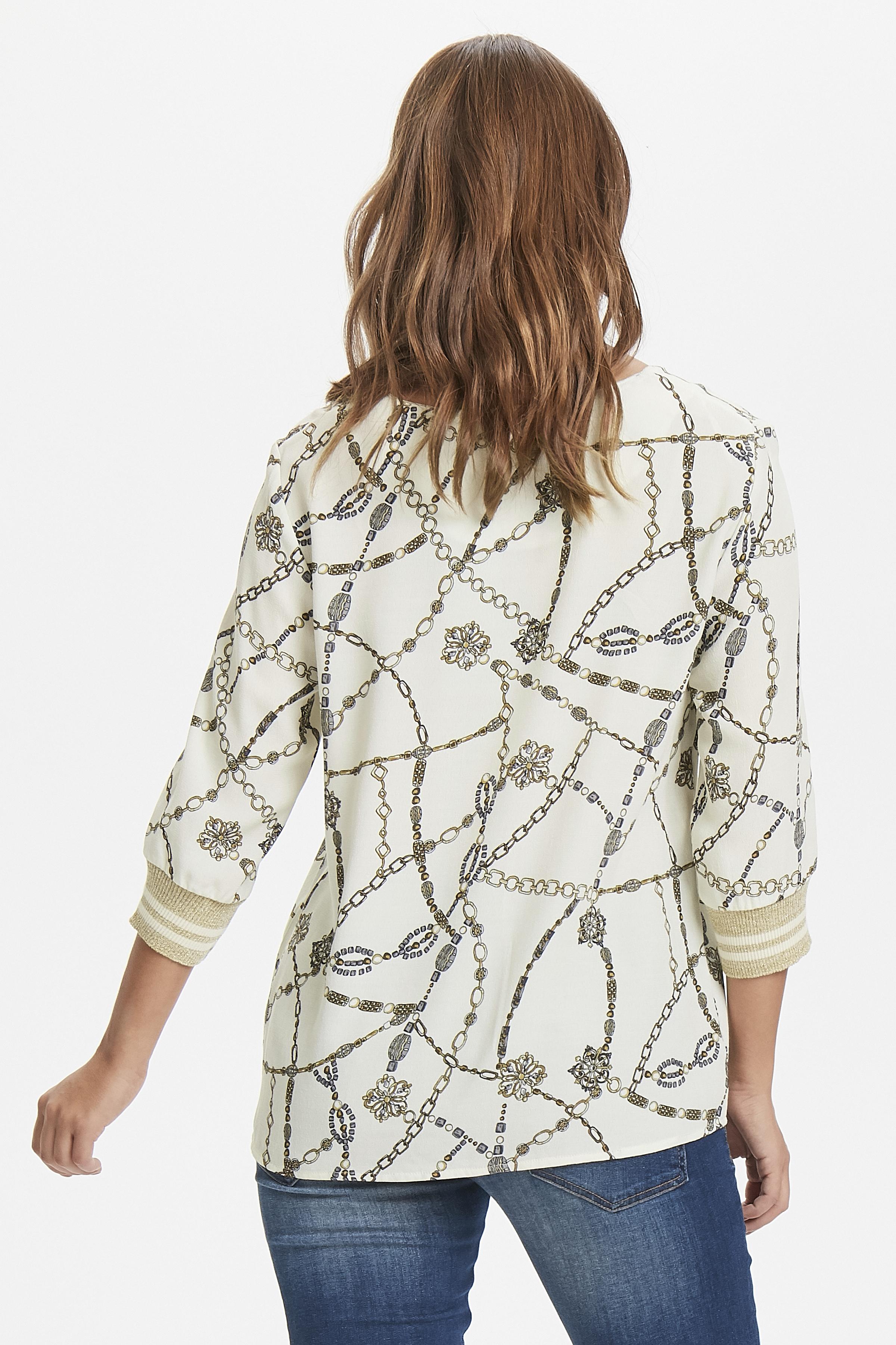 Off-white/guld Langærmet bluse fra b.young – Køb Off-white/guld Langærmet bluse fra str. 34-46 her