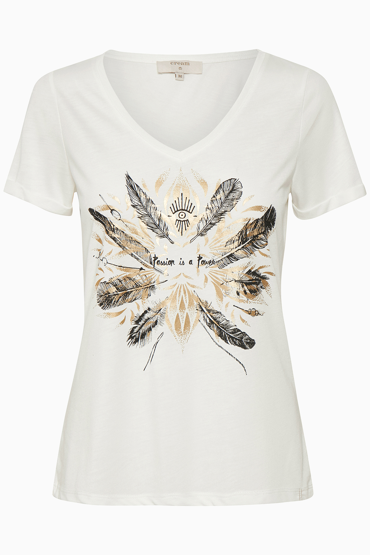Image of Cream Dame Enkel Heather T-shirt - Off-white