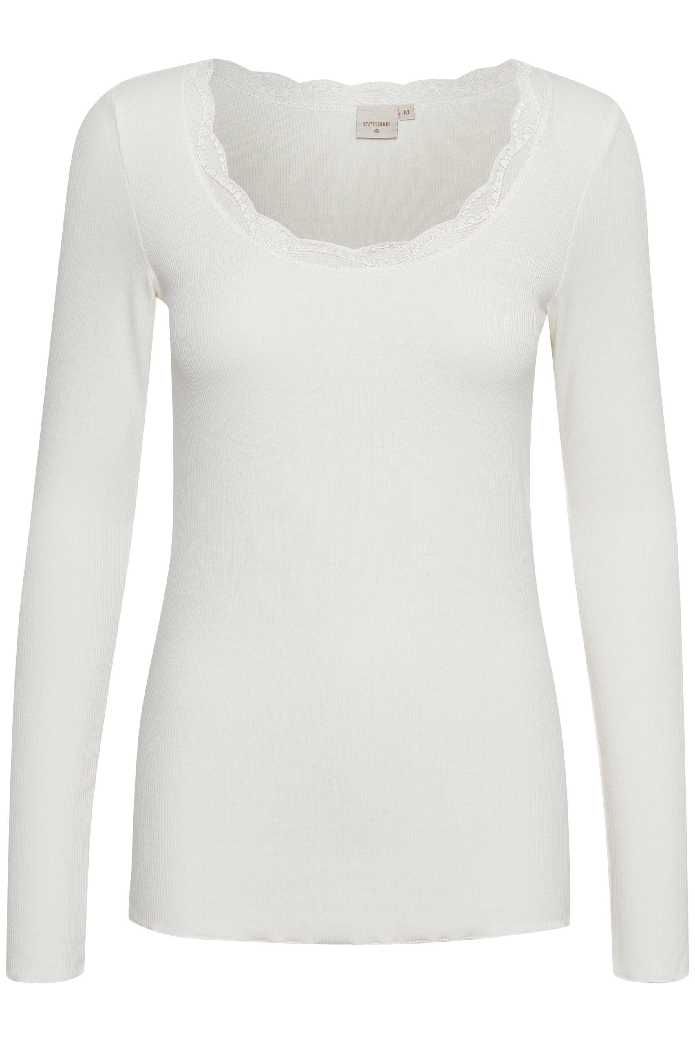 Image of Cream Dame Bluse med lange ærmer og udskæring foran. Blondekant langs hals og ærmer. Normal pasform. Blød jersey kvalitet med stretch. En blød basis bluse - Off-white