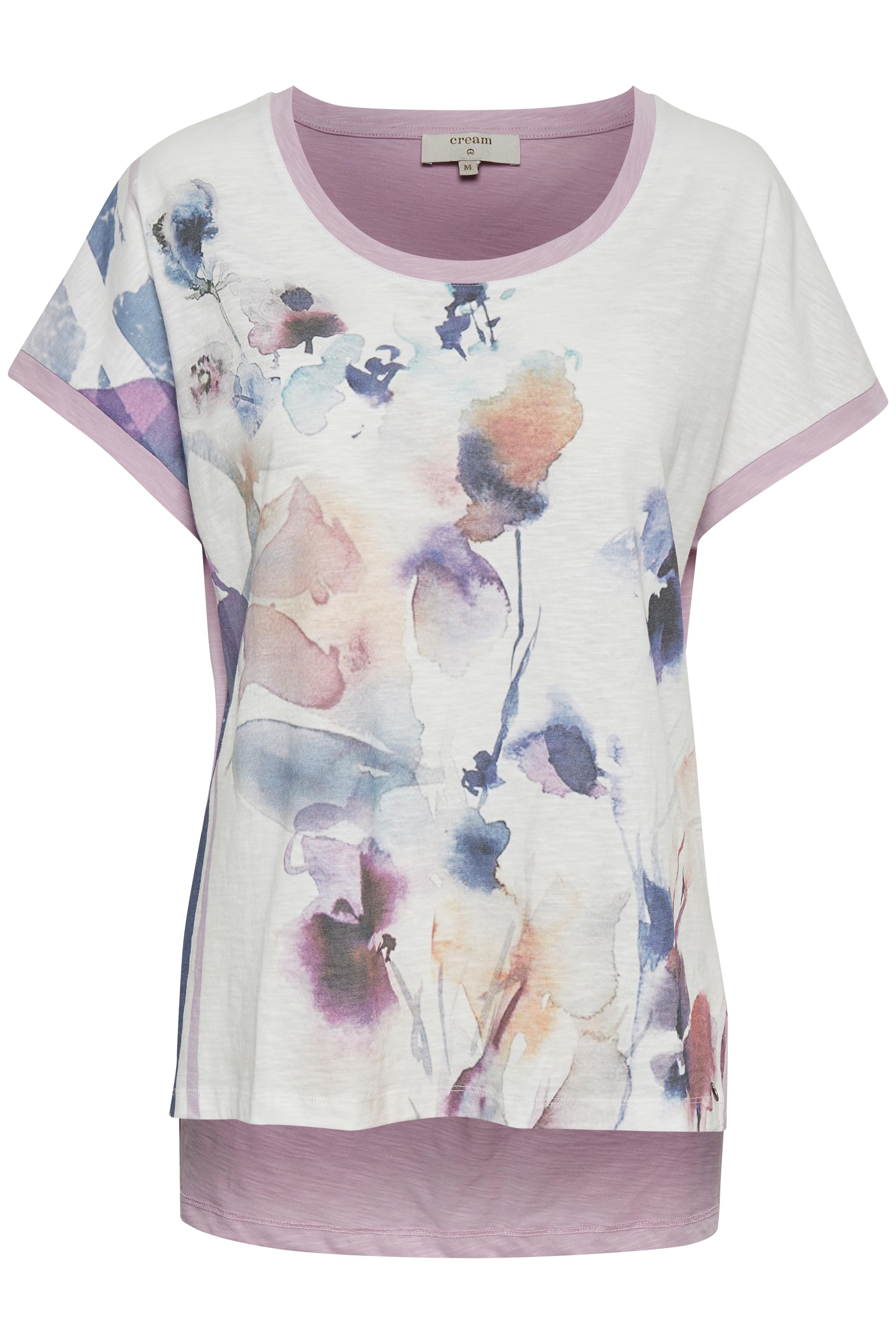 Off-white/lys lilla Kortærmet T-shirt fra Cream – Køb Off-white/lys lilla Kortærmet T-shirt fra str. XS-XXL her
