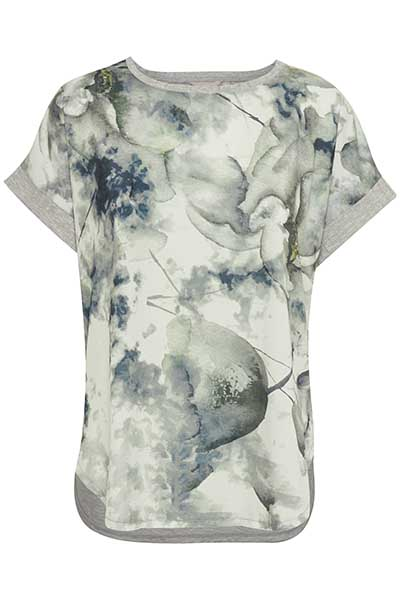 Off-white/marinblå Kortärmad blus från Bon'A Parte – Köp Off-white/marinblå Kortärmad blus från stl. S-2XL här