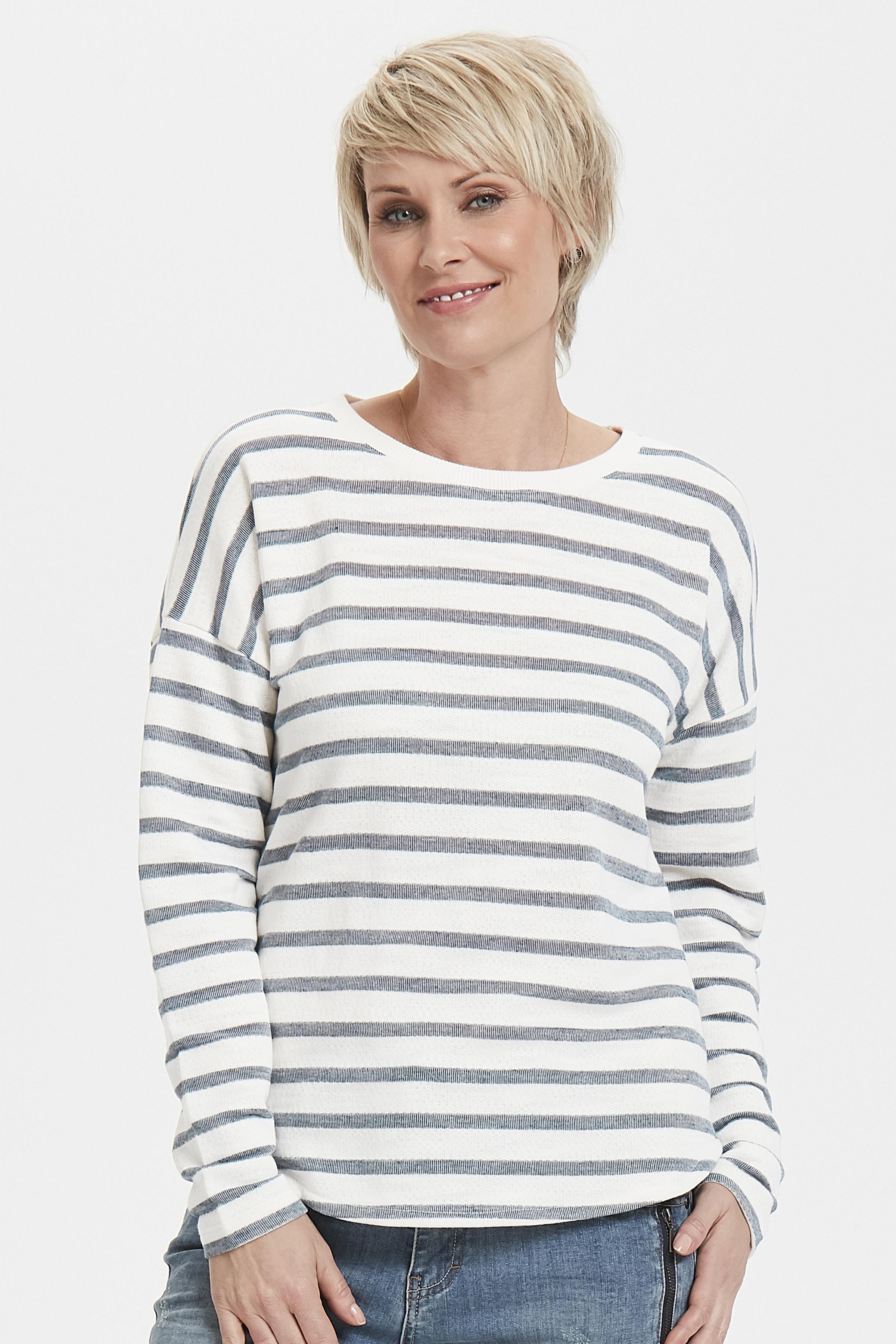 Off-white/marinblå Sweatshirt från Bon'A Parte – Köp Off-white/marinblå Sweatshirt från stl. S-2XL här