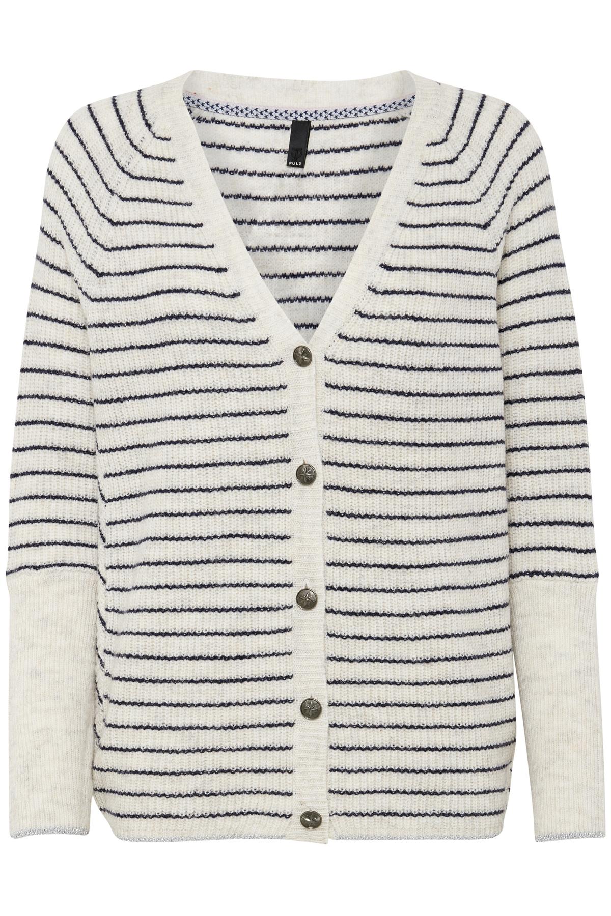 Pulz Jeans Dame PULZ: Langærmet Mandarin cardigan - Off-white/marineblå