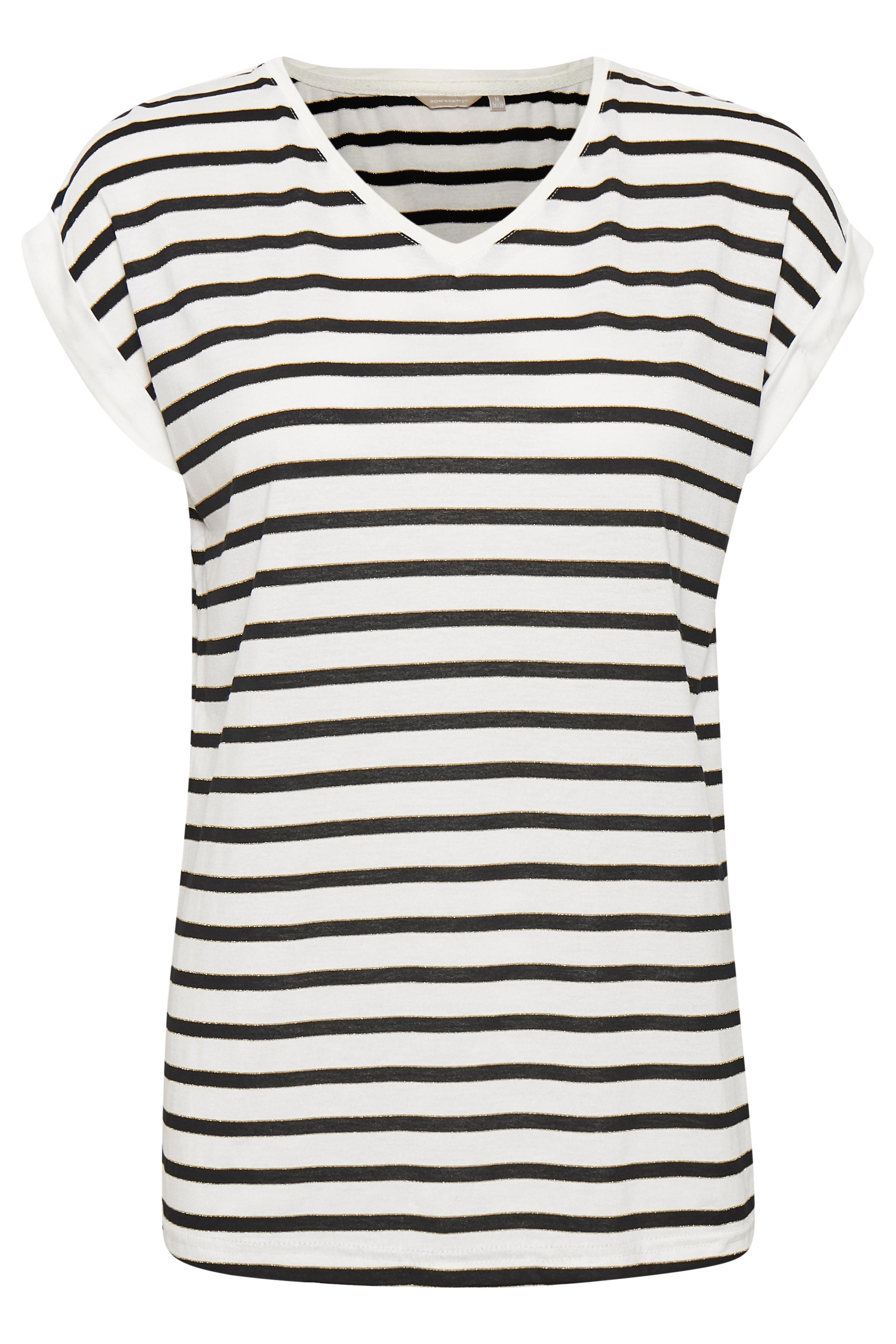 Image of BonA Parte Dame T-shirt - Off-white/marineblå