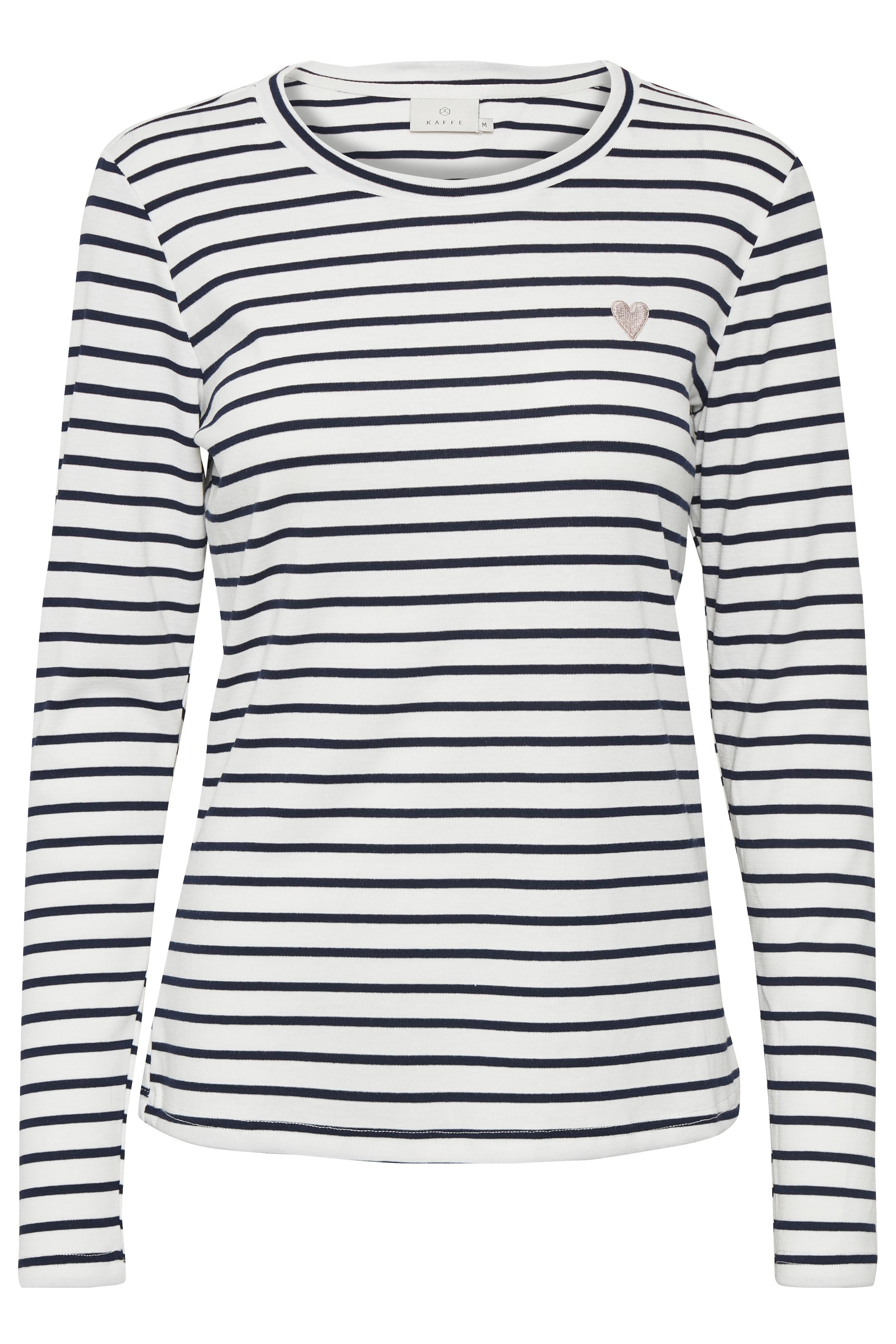 Off-white/marineblå Langærmet bluse fra Kaffe – Køb Off-white/marineblå Langærmet bluse fra str. XS-XXL her