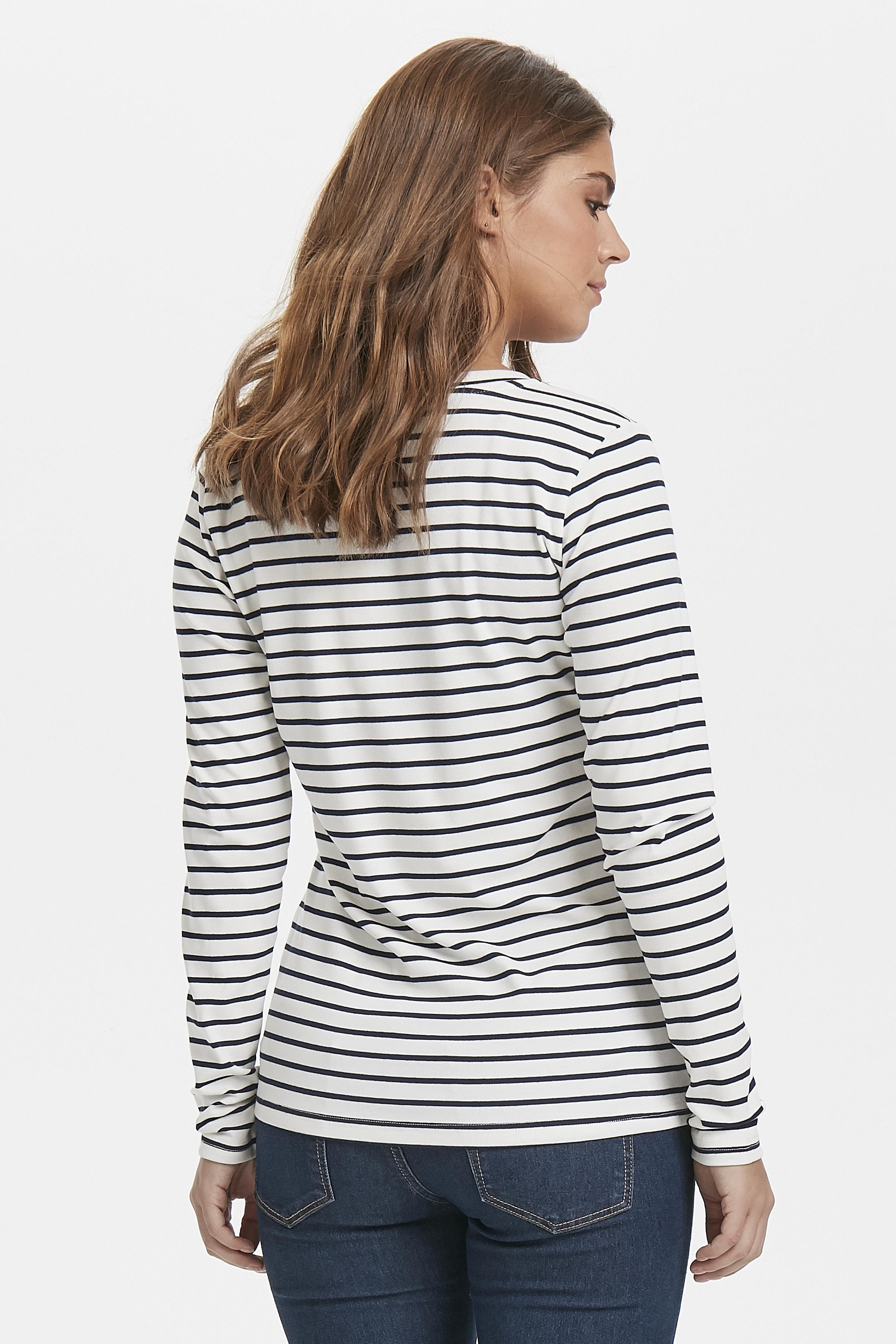 Off-white/marineblauw Lange mouwen shirt  van Kaffe – Door Off-white/marineblauw Lange mouwen shirt  van maat. XS-XXL hier