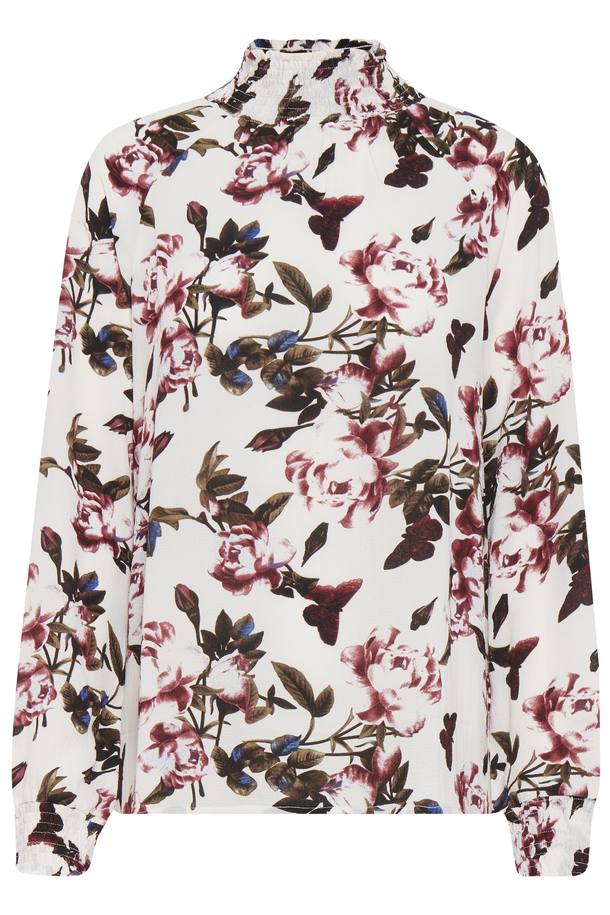 Off-white/mørk rosa Langærmet bluse fra b.young – Køb Off-white/mørk rosa Langærmet bluse fra str. 34-46 her