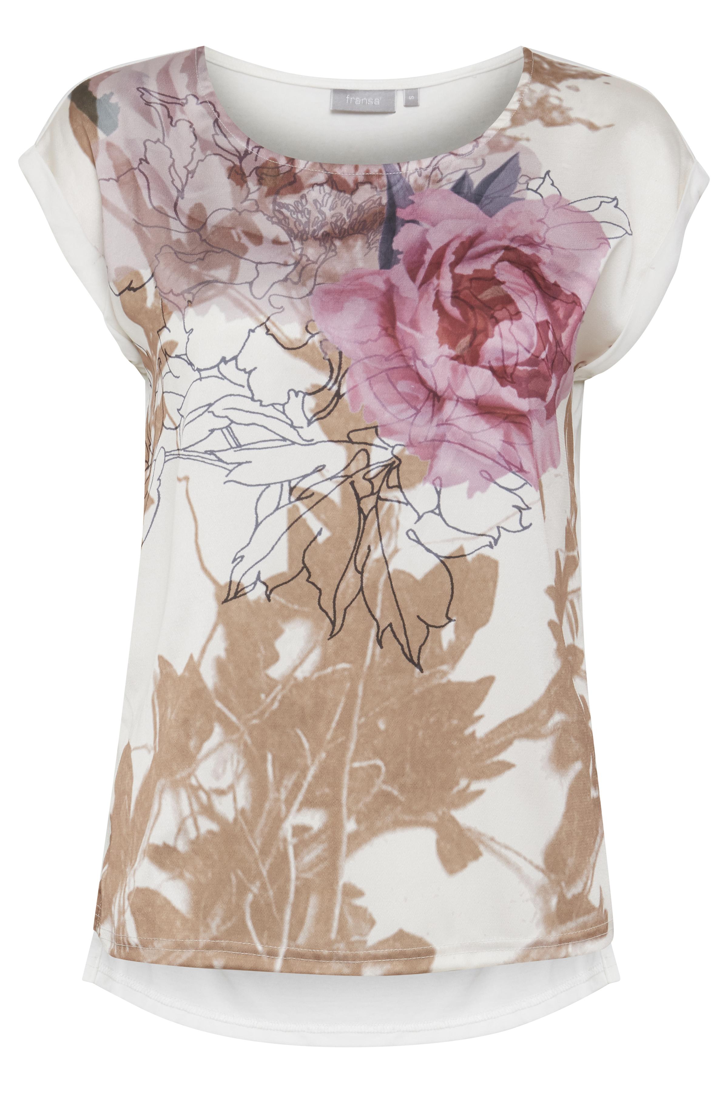 Off-white/rosa Kortærmet bluse fra Fransa – Køb Off-white/rosa Kortærmet bluse fra str. XS-XXL her