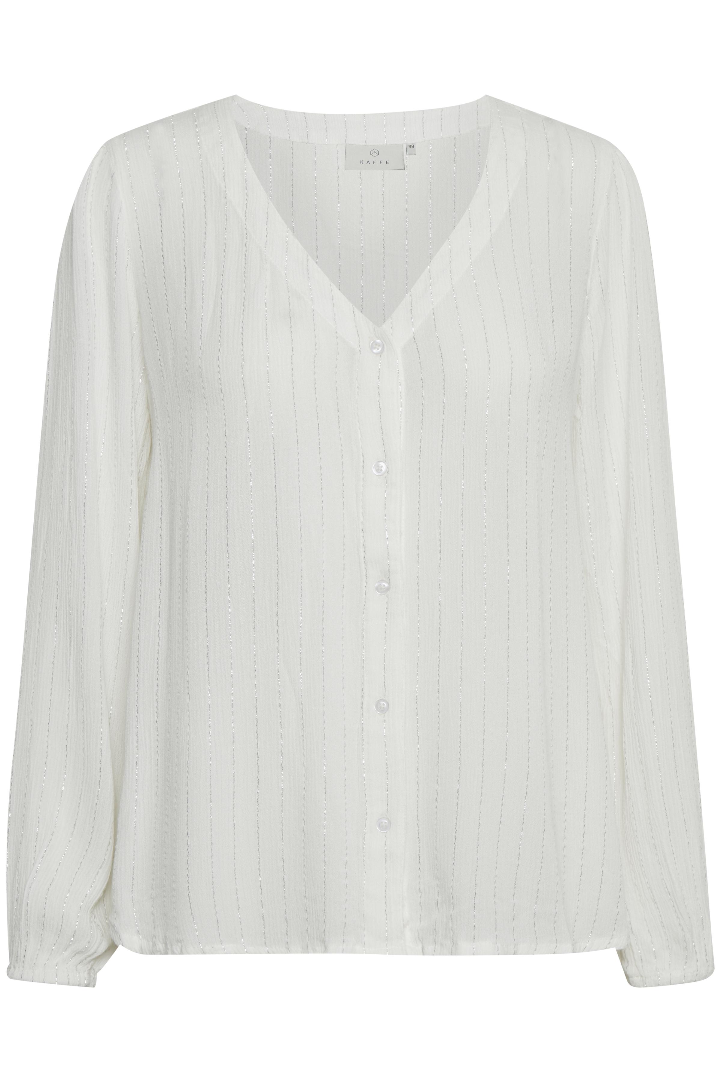 Image of Kaffe Dame Skjorte - Off-white/sølv