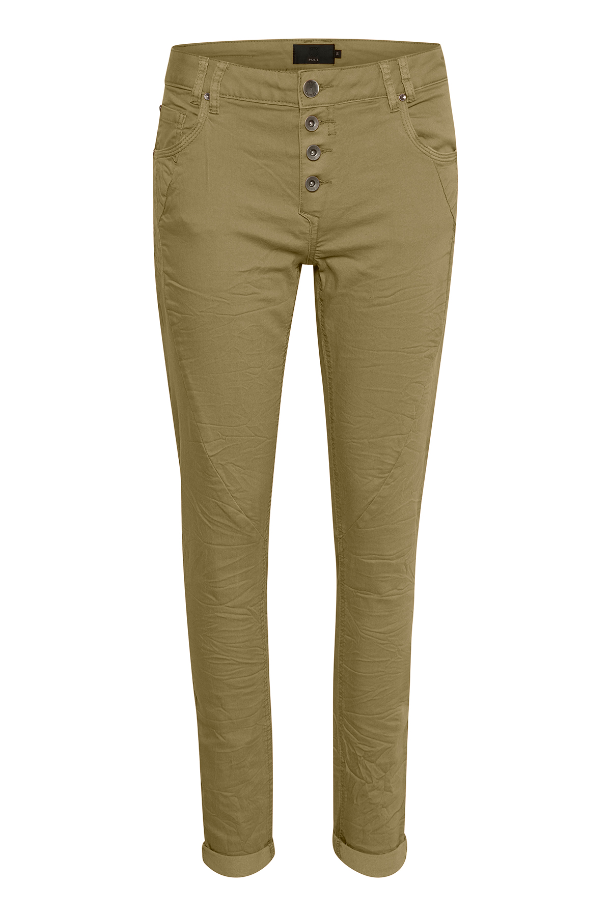Olivgrön Casual byxor från Pulz Jeans – Köp Olivgrön Casual byxor från stl. 32-46 här