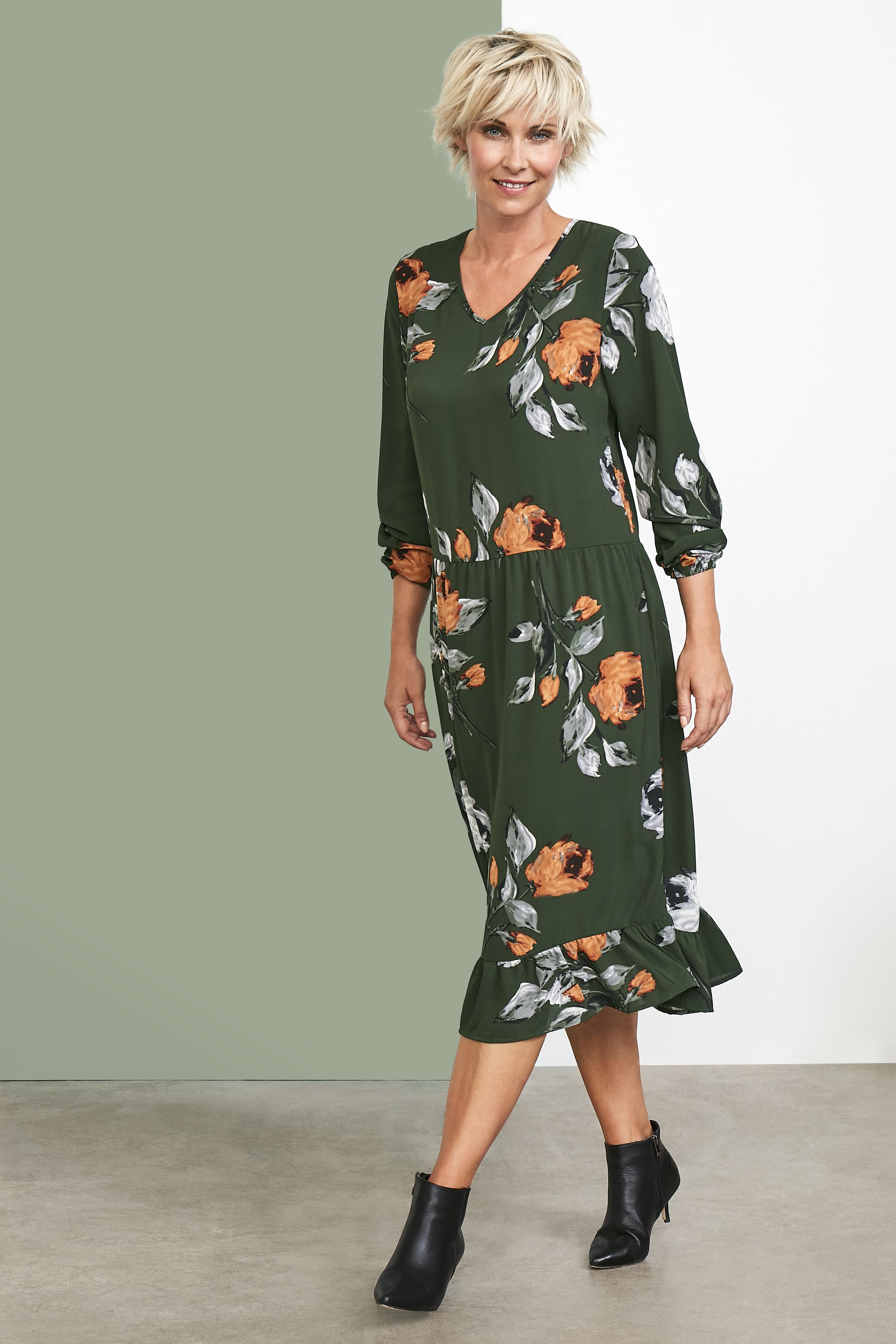 Olivgrün/grau Kleid von Kaffe – Shoppen Sie Olivgrün/grau Kleid ab Gr. 34-46 hier