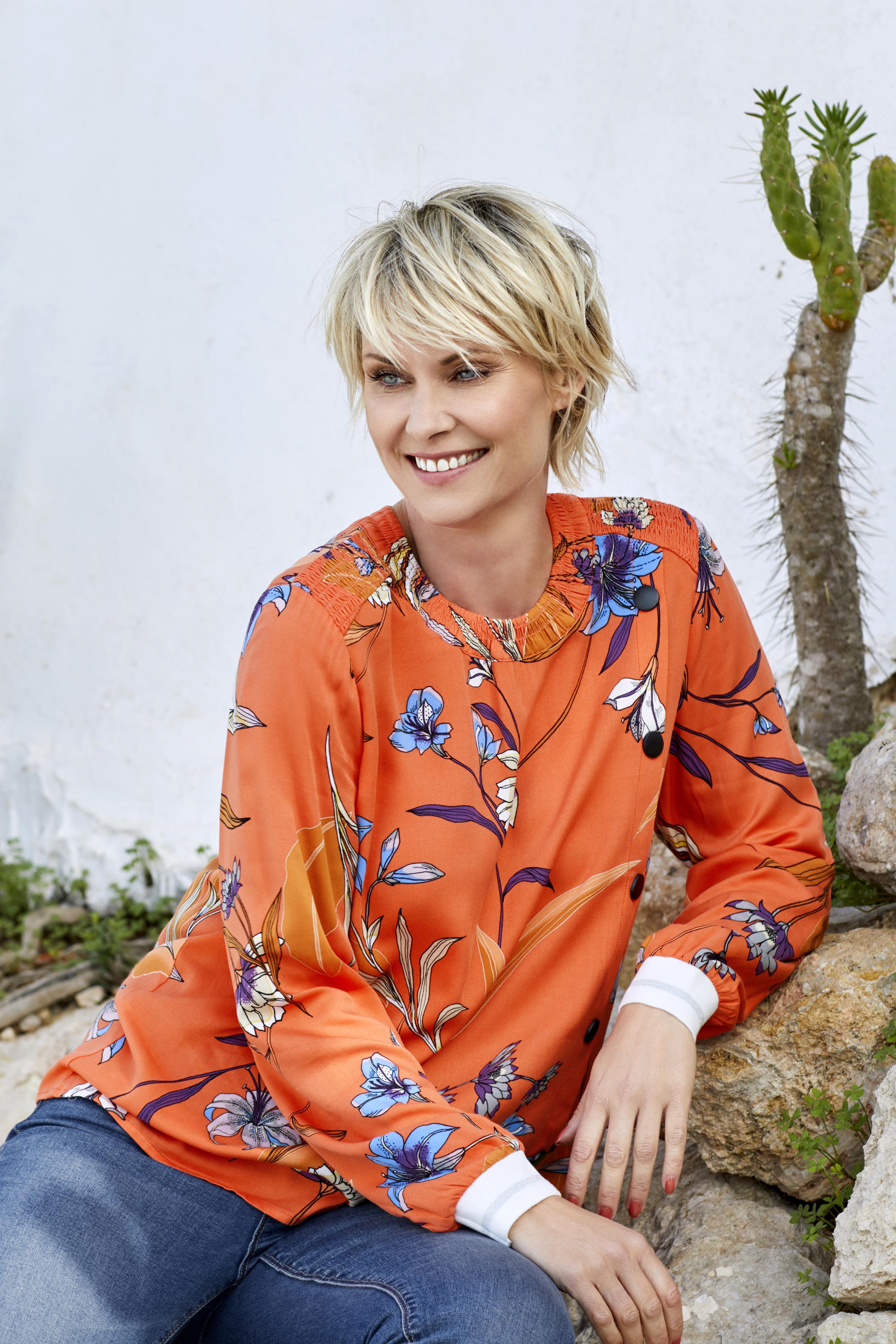 Orange Langærmet bluse  fra Pulz Jeans – Køb Orange Langærmet bluse  fra str. XS-XXL her