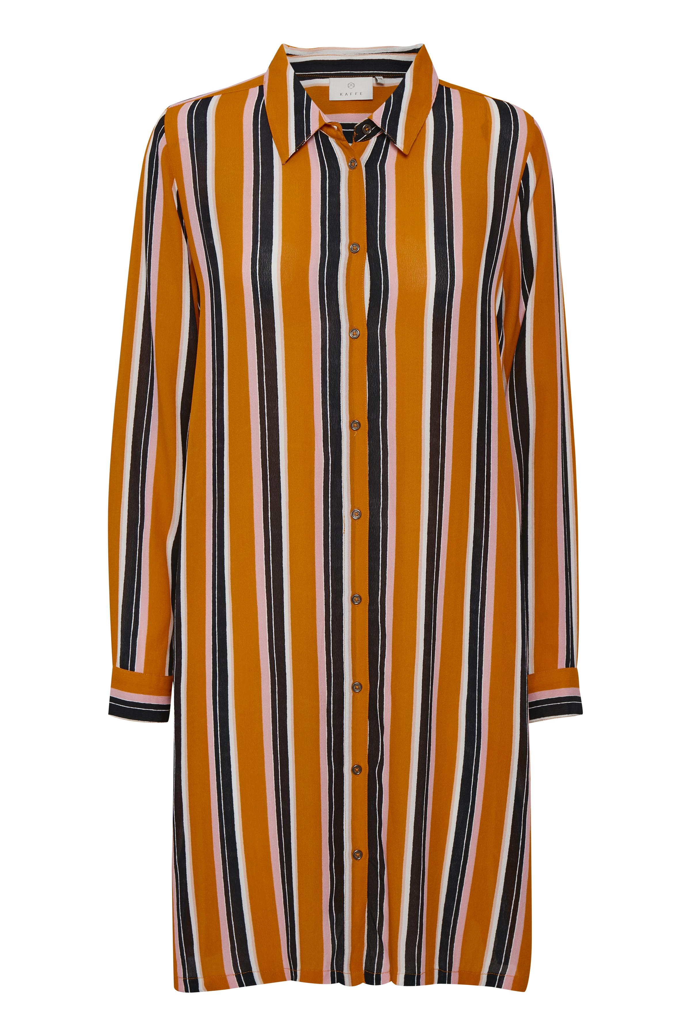 Image of Kaffe Dame Lang skjorte - Orange/sort