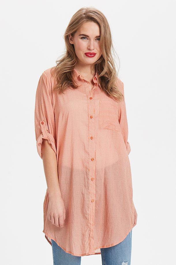 b9ad537f9988 Orangerød off-white Skjortekjole fra Kaffe – Køb Orangerød off-white  Skjortekjole fra str.