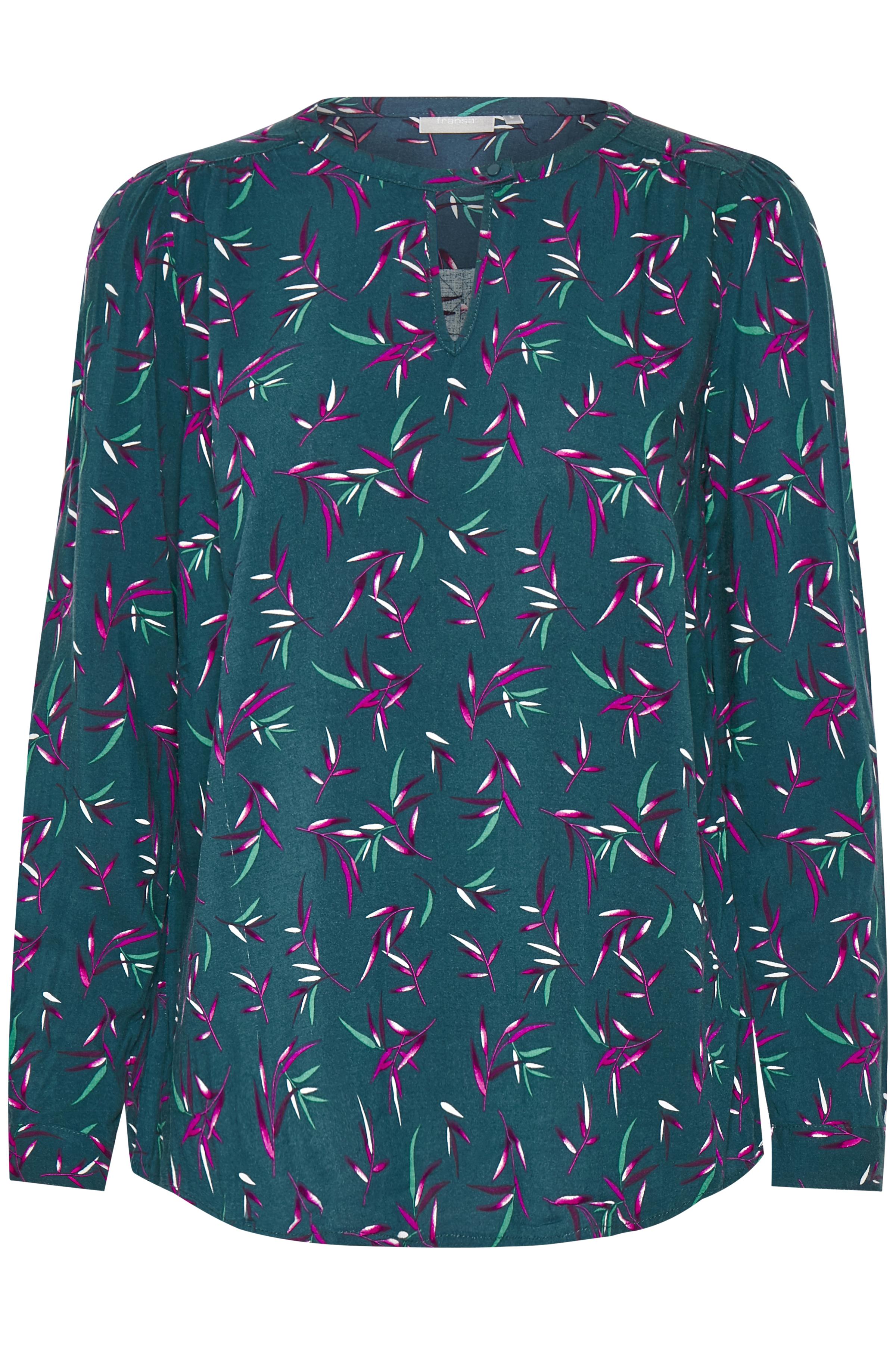 Petrol/bordeaux Langærmet bluse fra Fransa – Køb Petrol/bordeaux Langærmet bluse fra str. XS-XXL her
