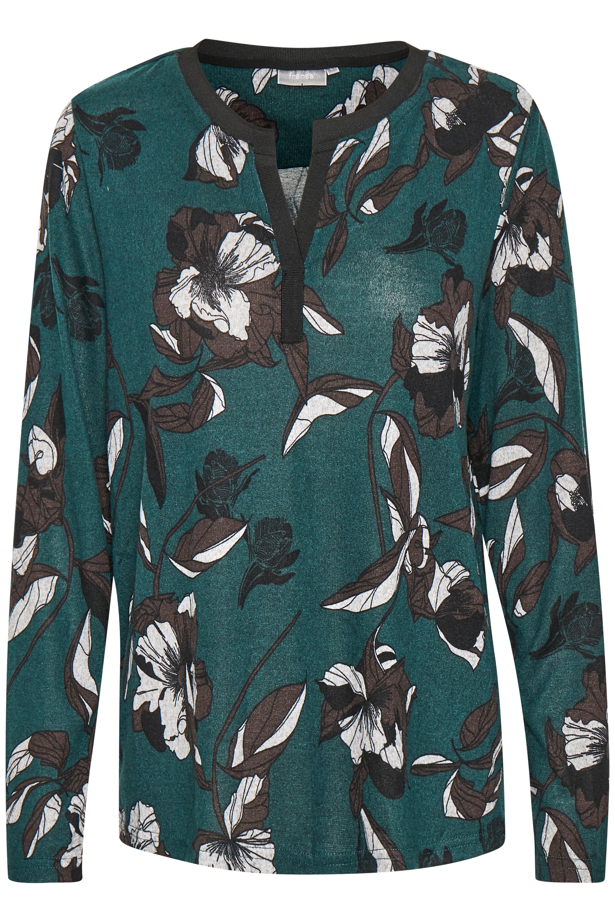 Petrol/grå Langærmet bluse fra Fransa – Køb Petrol/grå Langærmet bluse fra str. XS-XXL her