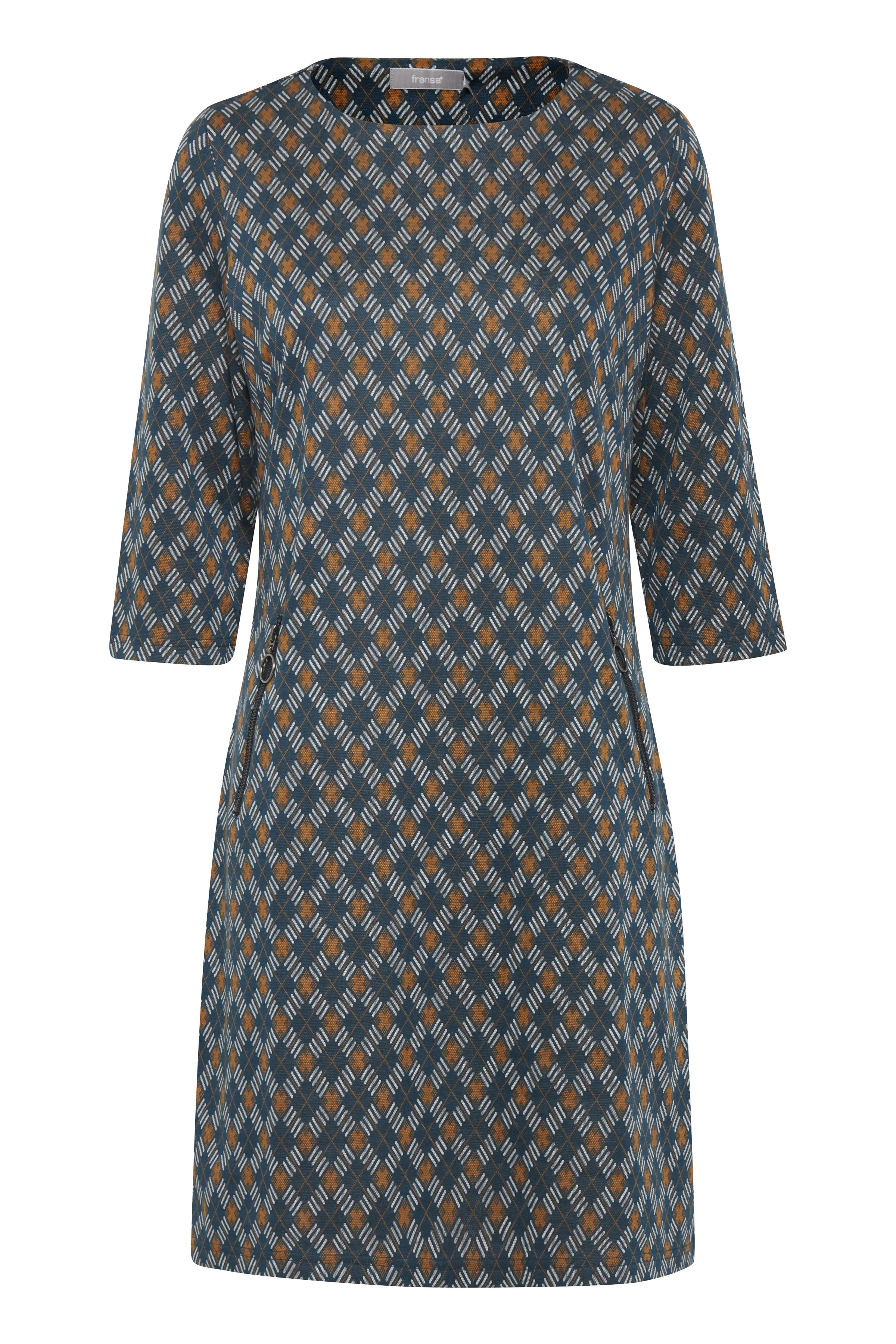Fransa Dame Blød jersey kjole - Petrol/karry