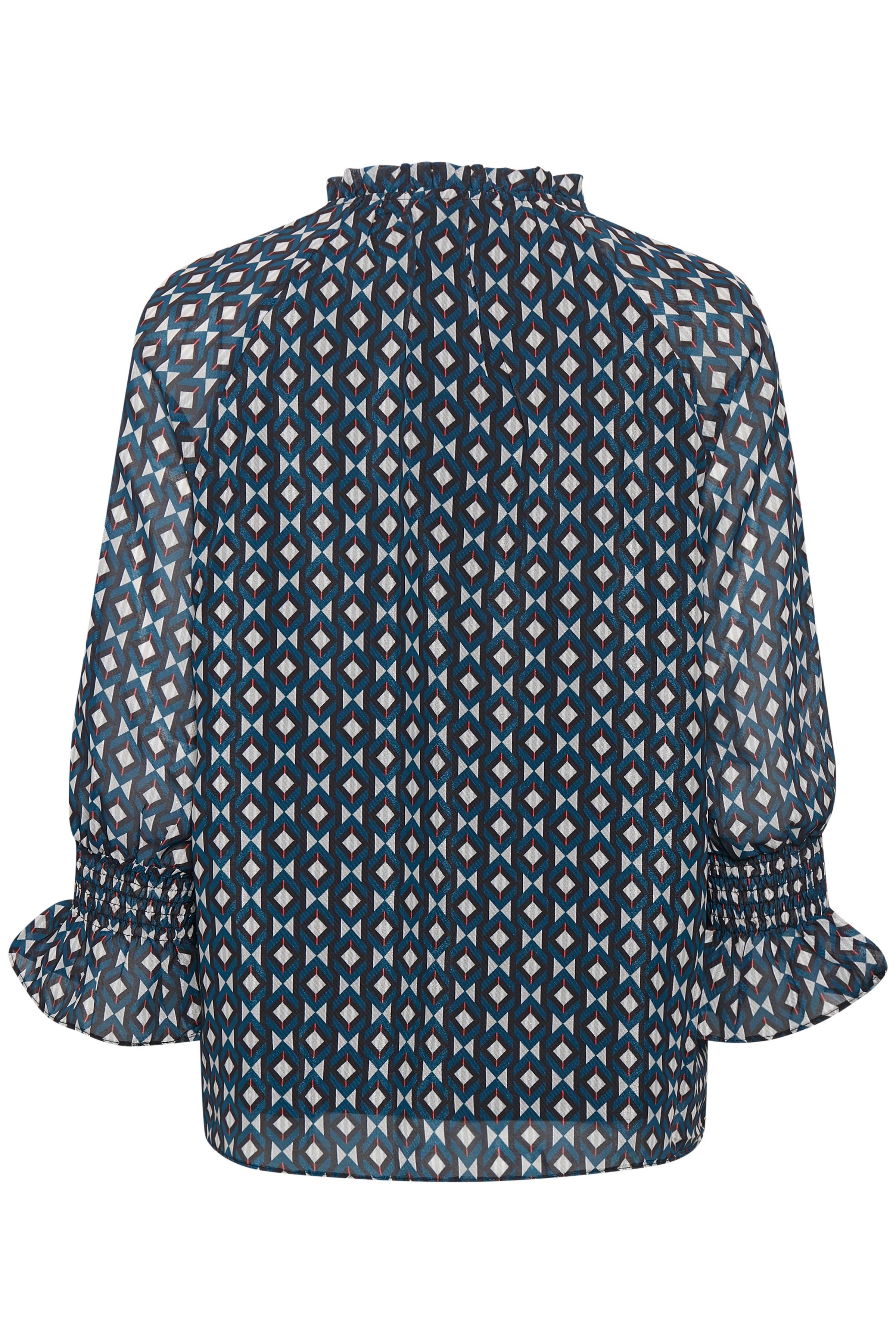 Petrol/off-white Langærmet bluse fra Fransa – Køb Petrol/off-white Langærmet bluse fra str. XS-XXL her