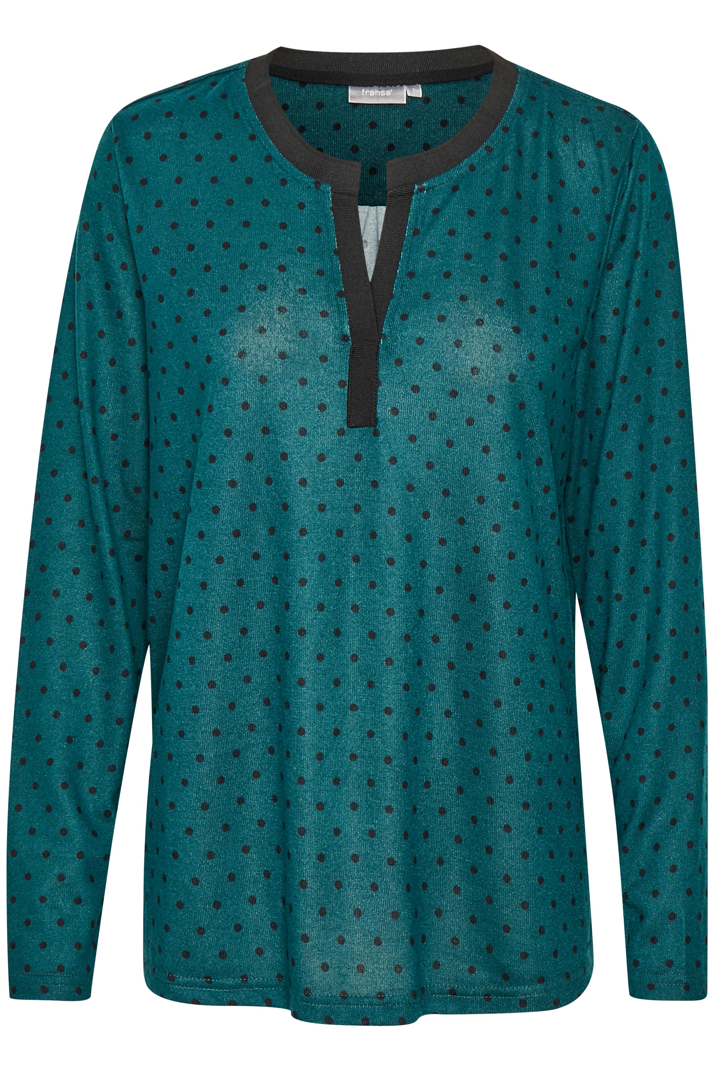 Petrol/sort Langærmet bluse fra Fransa – Køb Petrol/sort Langærmet bluse fra str. XS-XXL her