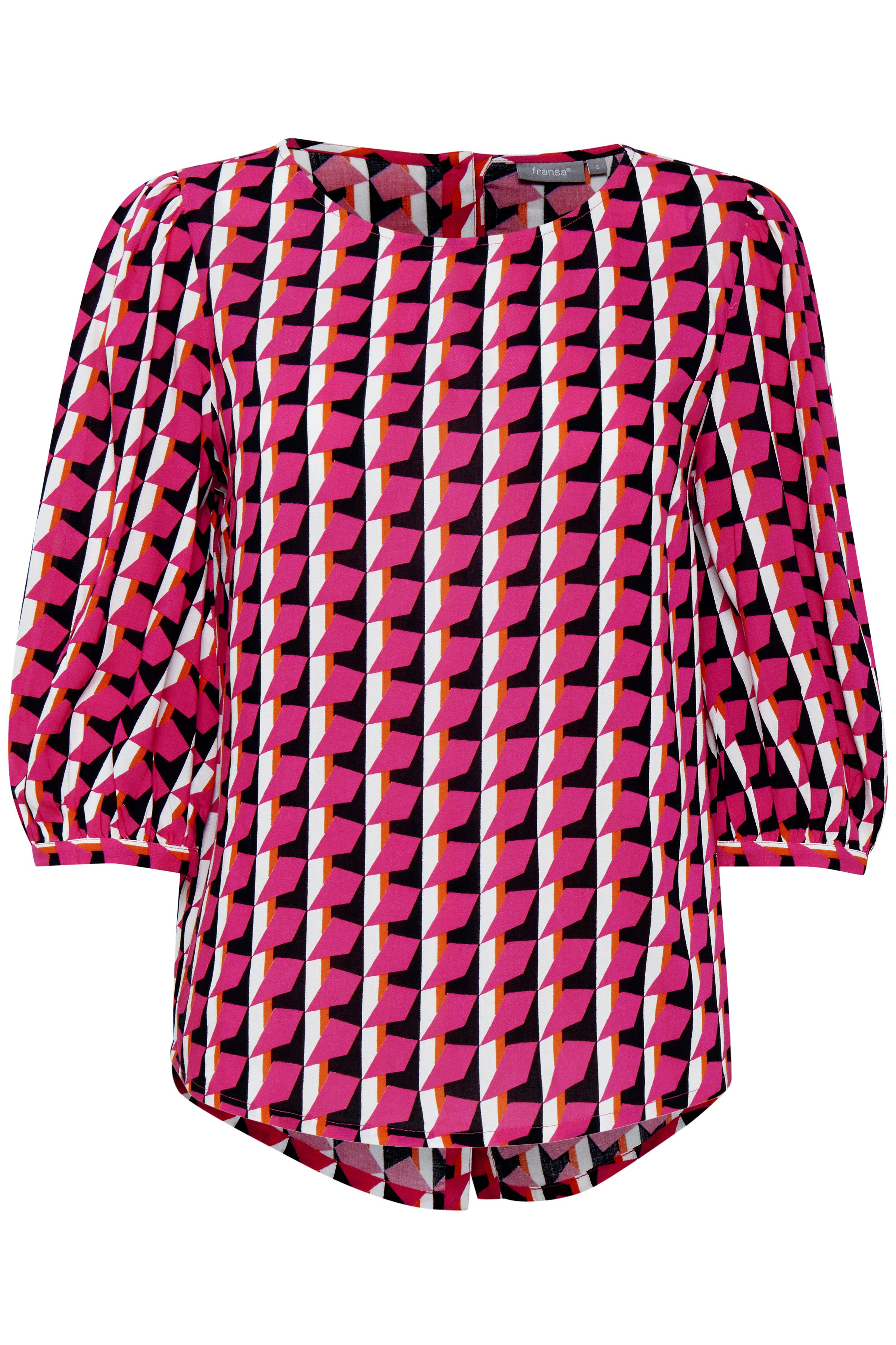 Pink/hvid Bluse  fra Fransa – Køb Pink/hvid Bluse  fra str. XS-XXL her