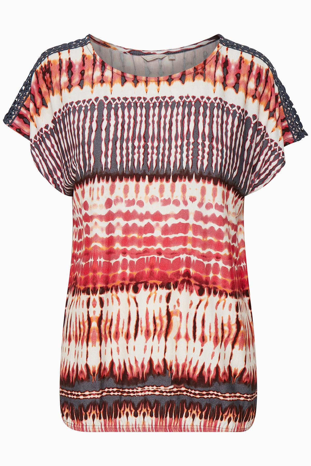 Pink/schwarz Kurzarm-Bluse von Bon'A Parte – Shoppen Sie Pink/schwarz Kurzarm-Bluse ab Gr. S-2XL hier
