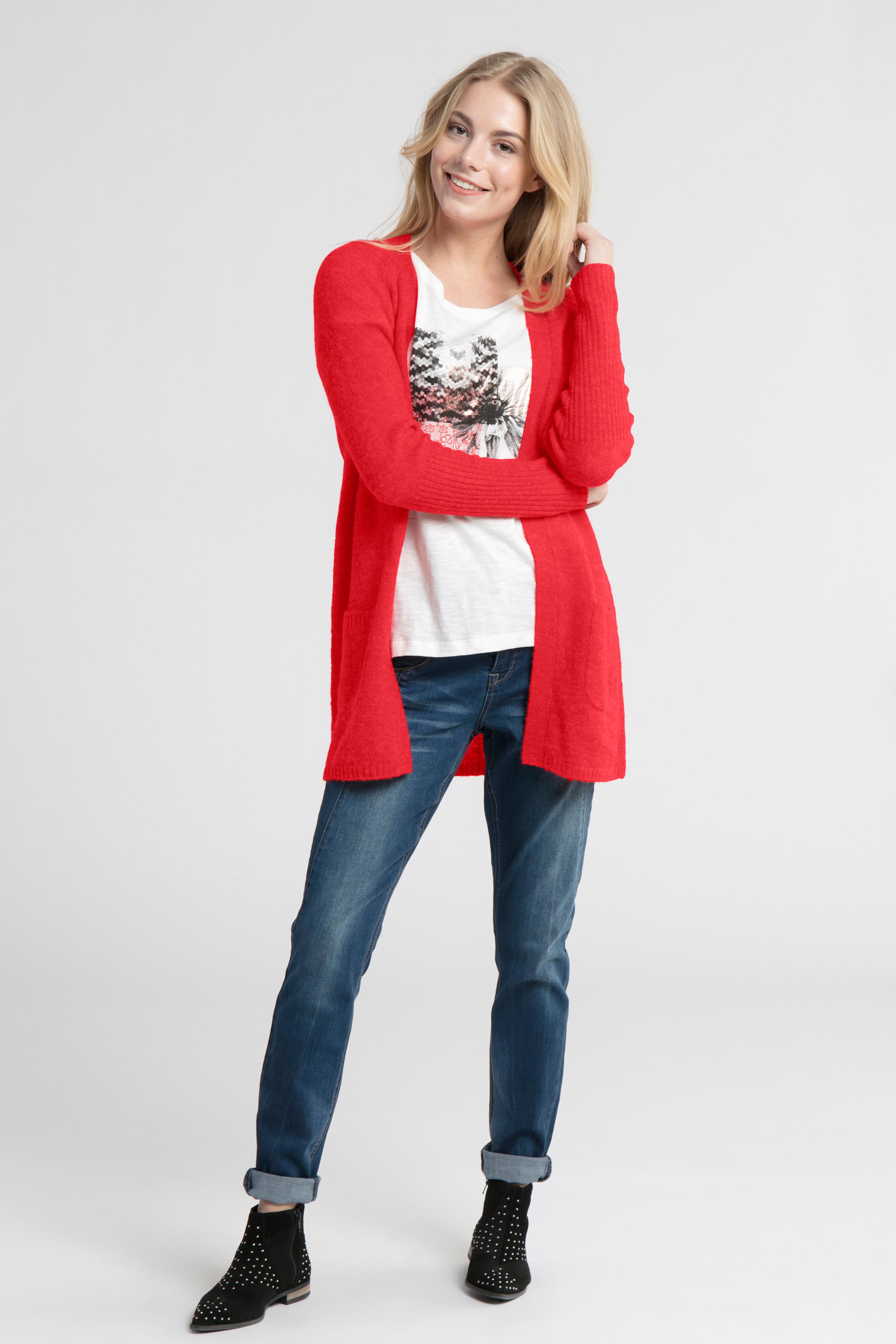 Röd Stickad cardigan från Kaffe – Köp Röd Stickad cardigan från stl. XS-XXL här